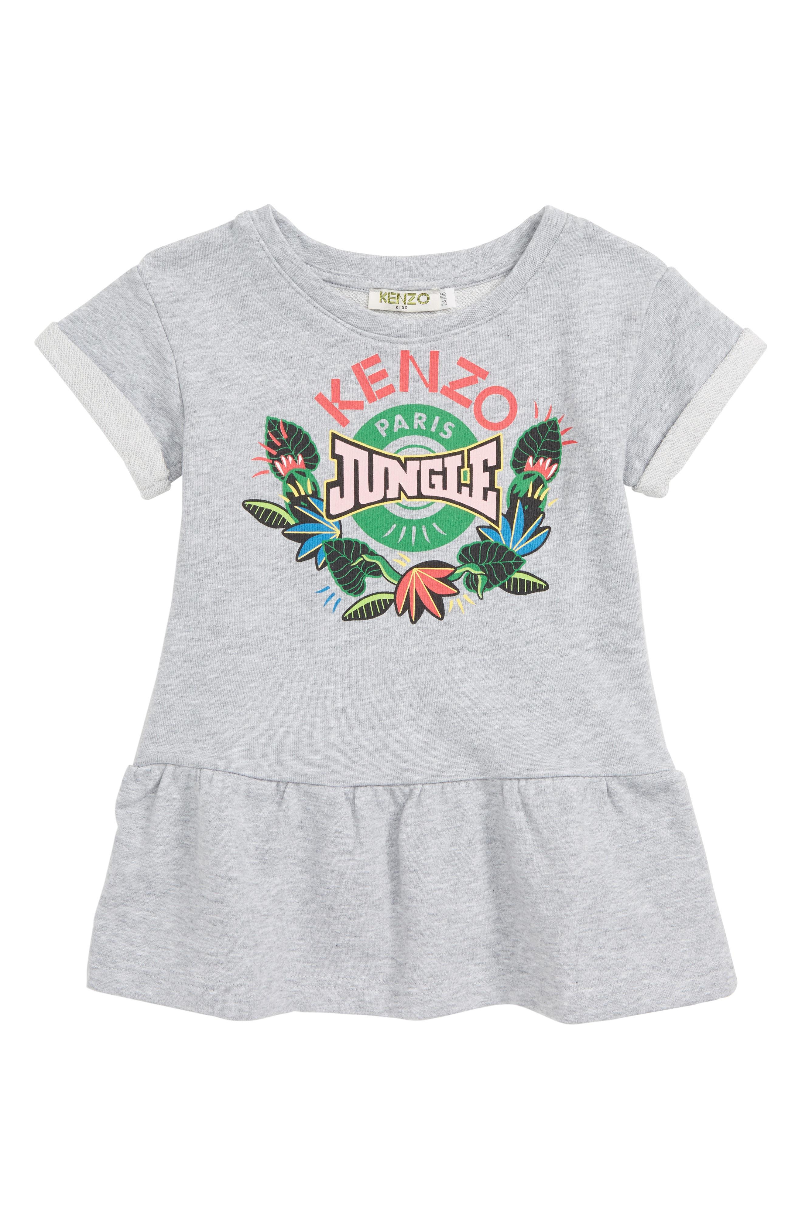KENZO Jungle Fleece Dress, Main, color, MARLE GREY