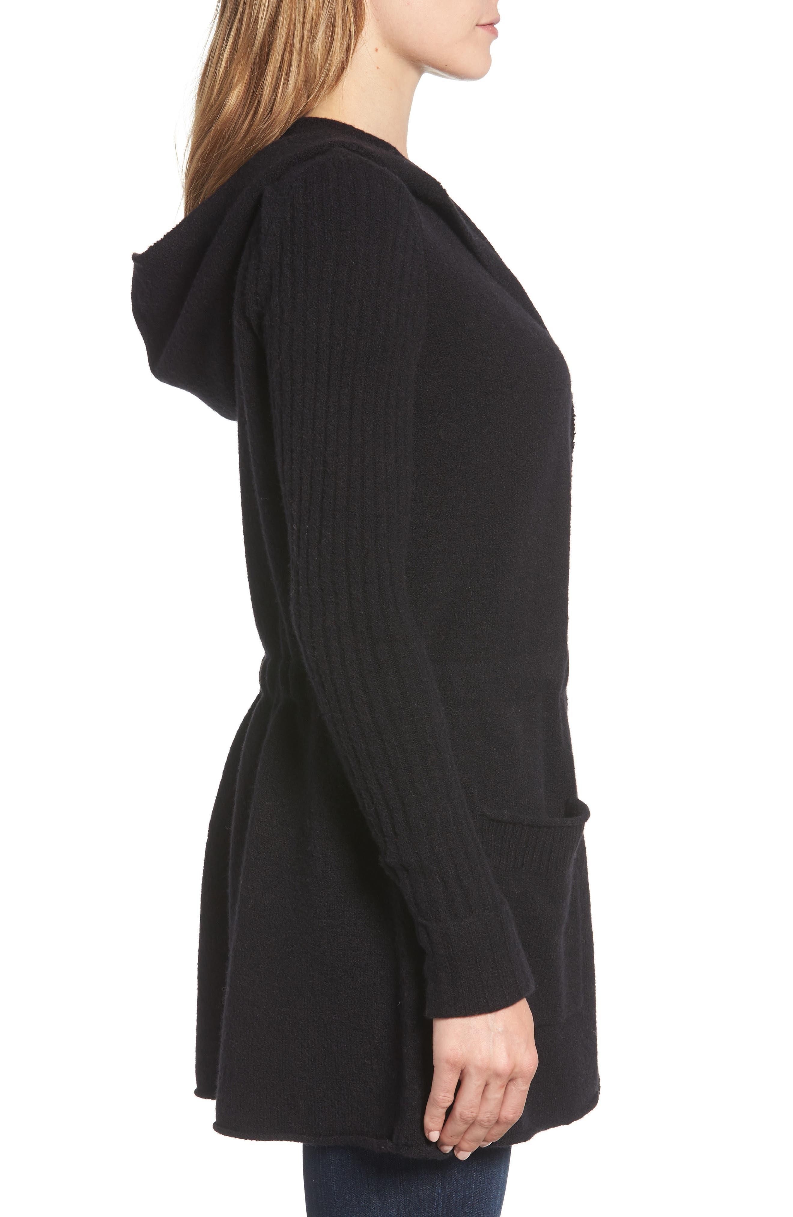 CASLON<SUP>®</SUP>, Hooded Cardigan, Alternate thumbnail 3, color, BLACK