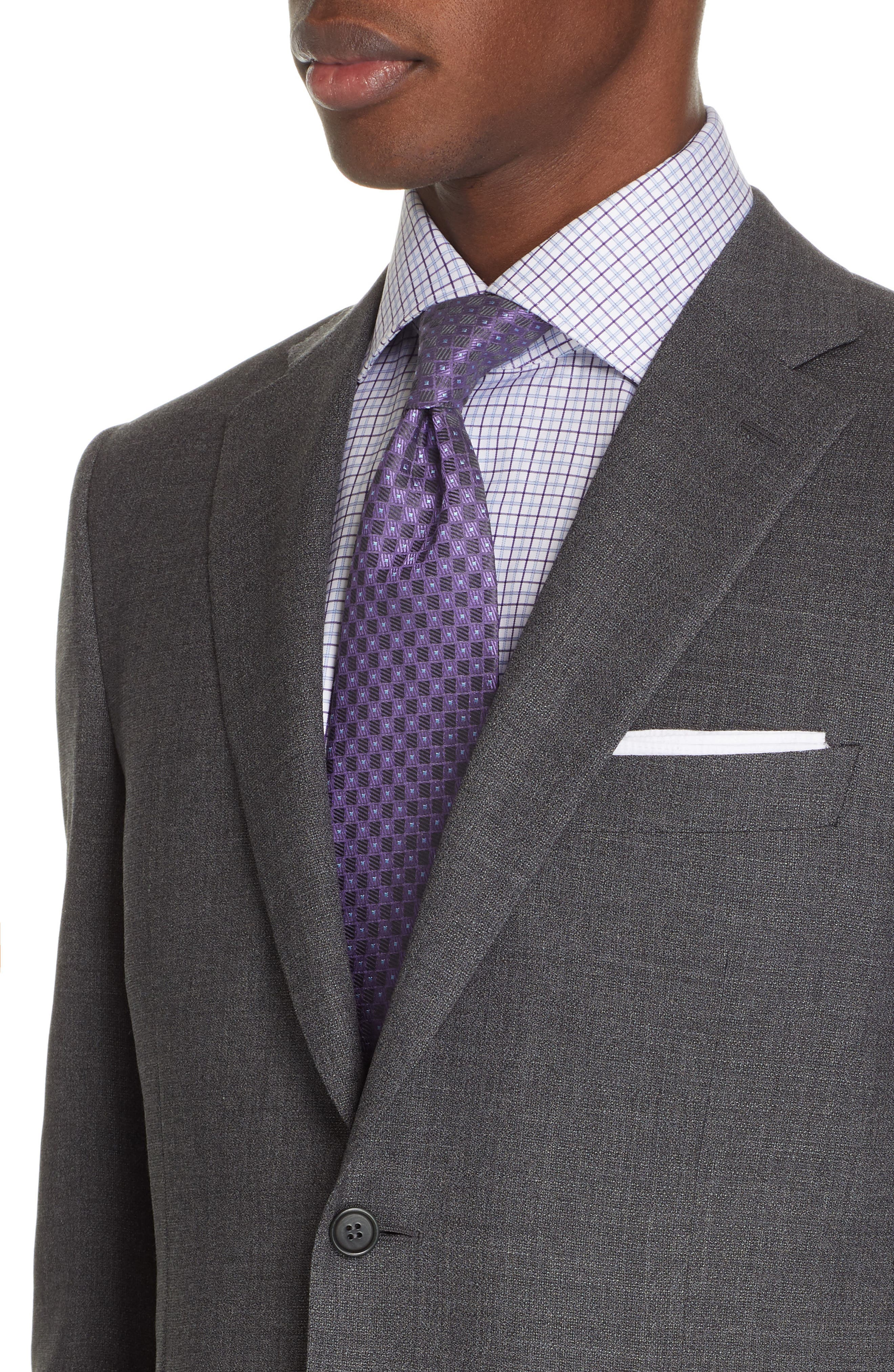CANALI, Sienna Classic Fit Solid Wool Sport Coat, Alternate thumbnail 4, color, CHARCOAL