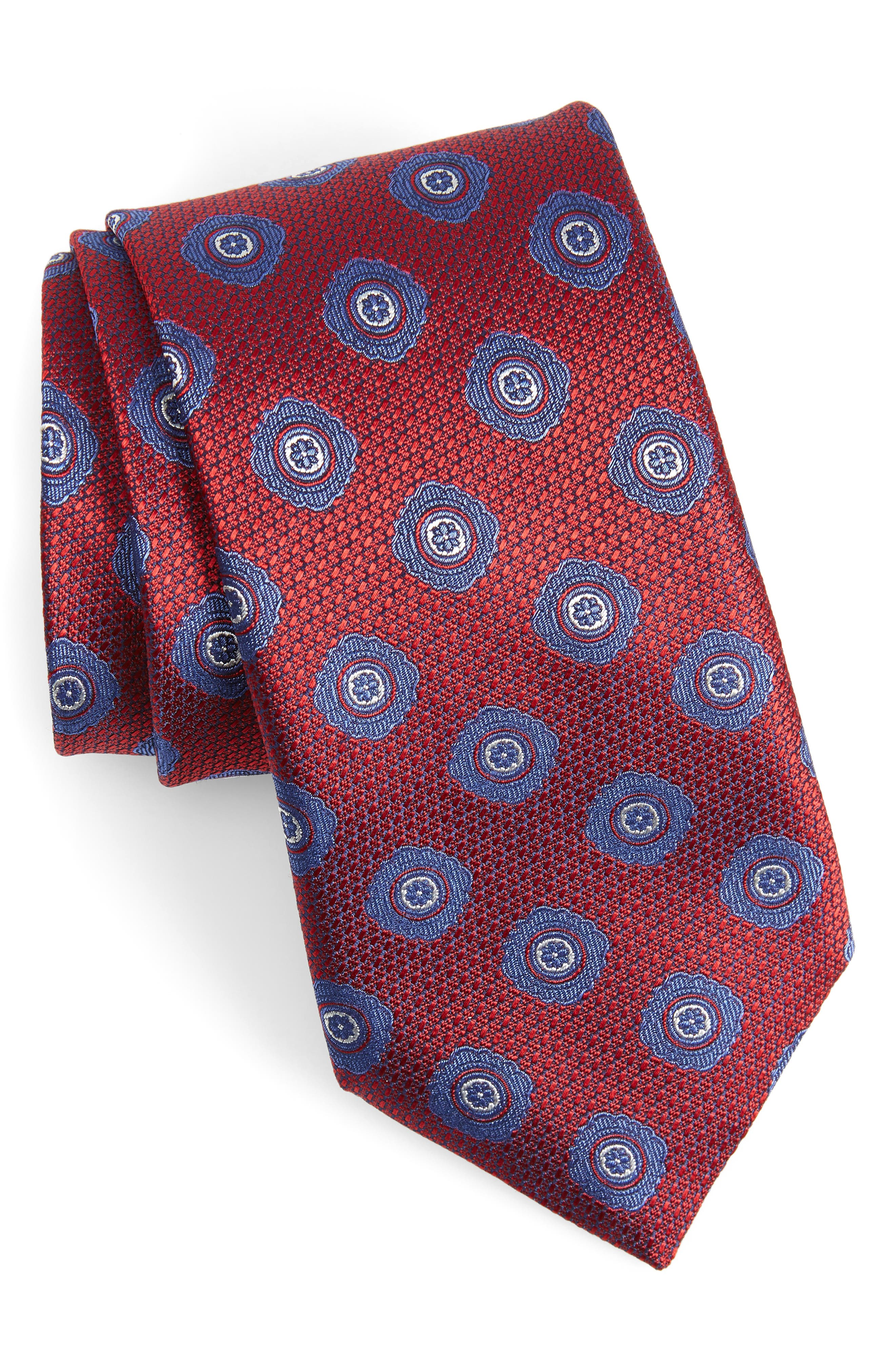 CANALI, Medallion Silk X-Long Tie, Main thumbnail 1, color, RED