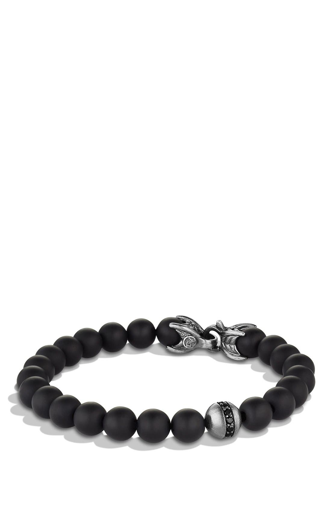 DAVID YURMAN, 'Spiritual Beads' Bracelet with Black Onyx and Black Diamonds, Main thumbnail 1, color, BLACK ONYX