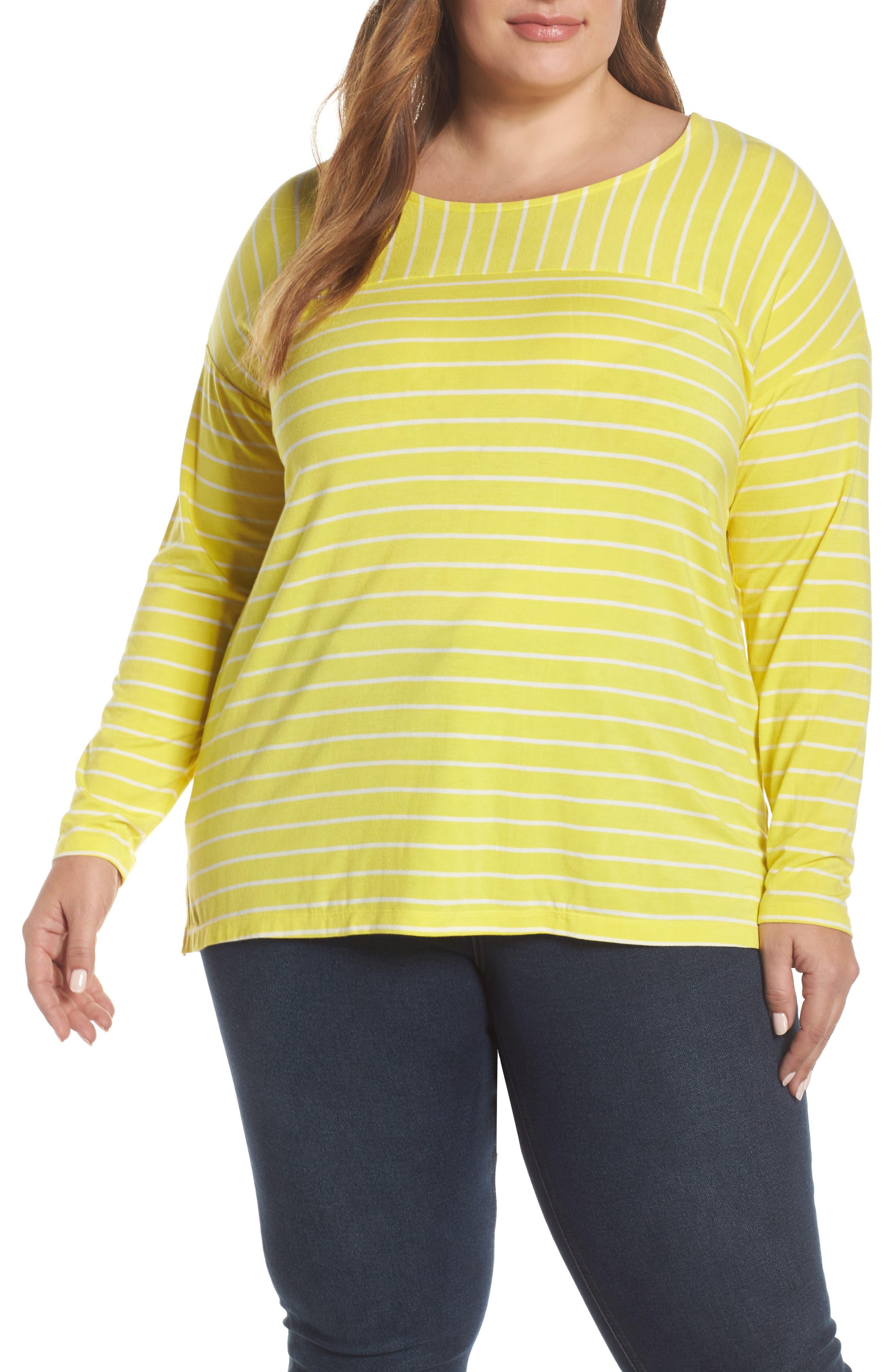 SEJOUR Stripe Long Sleeve Tee, Main, color, YELLOW ANYA STRIPE