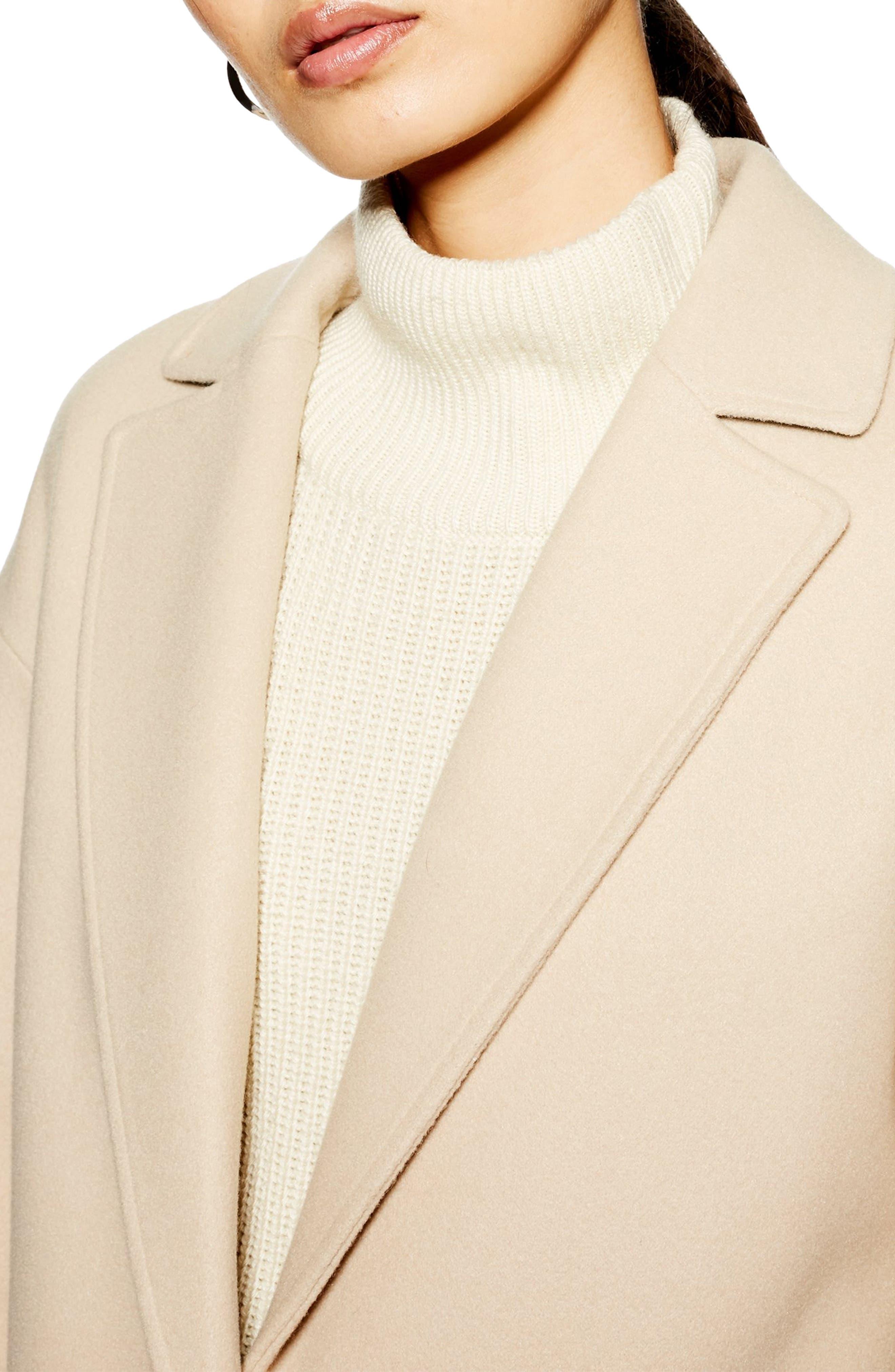 TOPSHOP, Lily Knit Back Midi Coat, Alternate thumbnail 4, color, 250