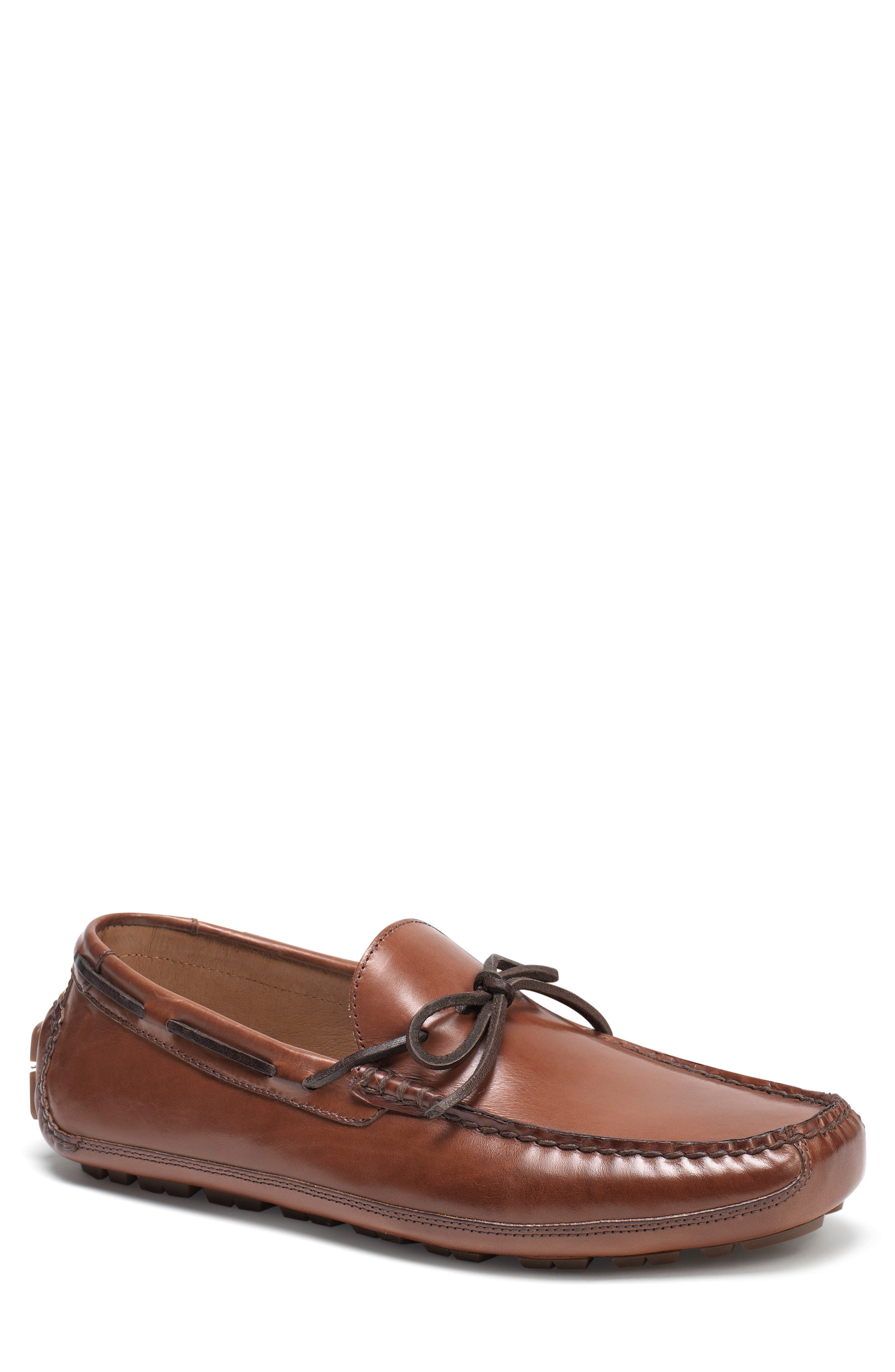TRASK, Dillion Driving Loafer, Main thumbnail 1, color, BROWN LEATHER