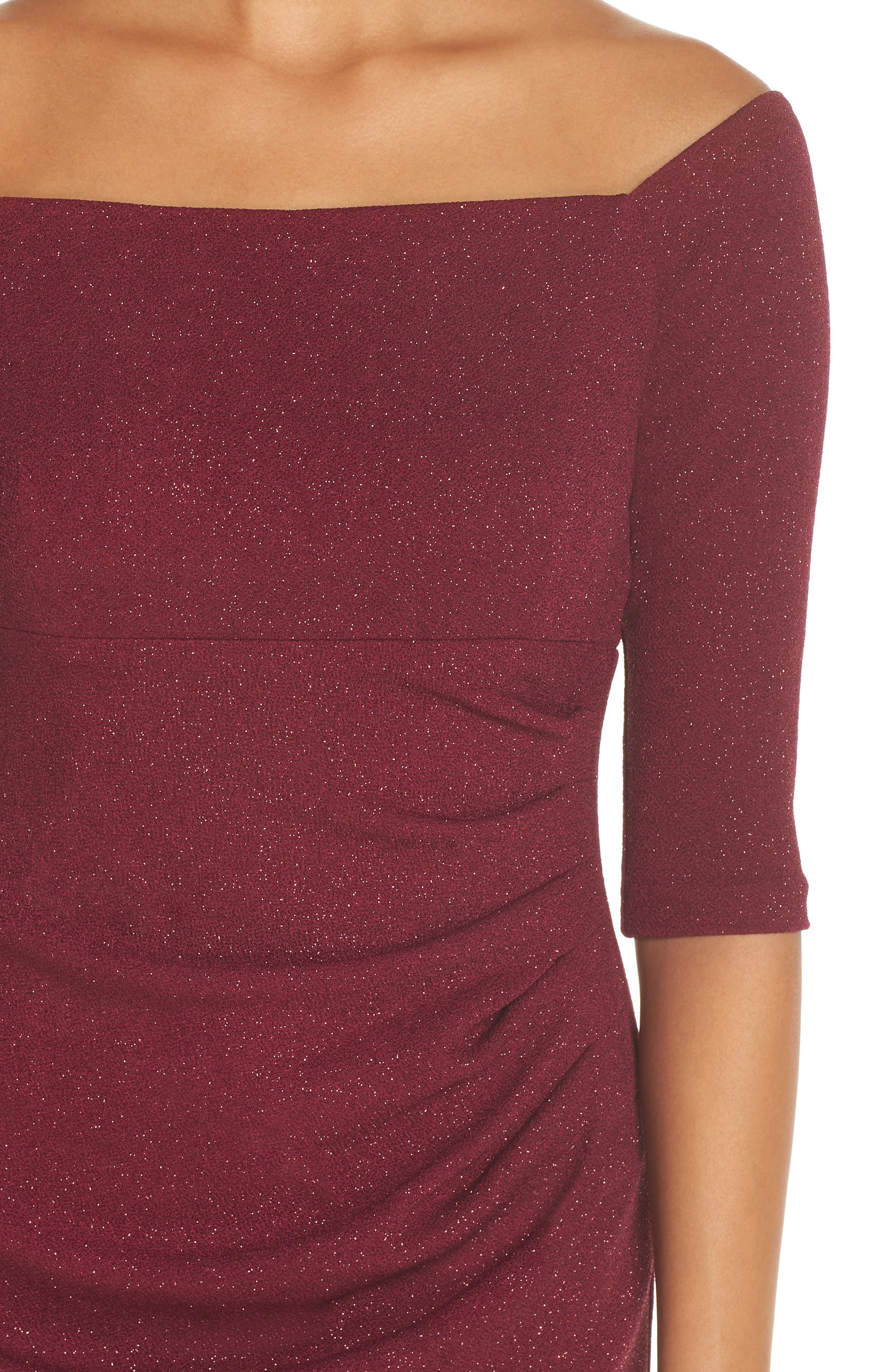 ELIZA J, Off the Shoulder Sheath Dress, Alternate thumbnail 5, color, WINE