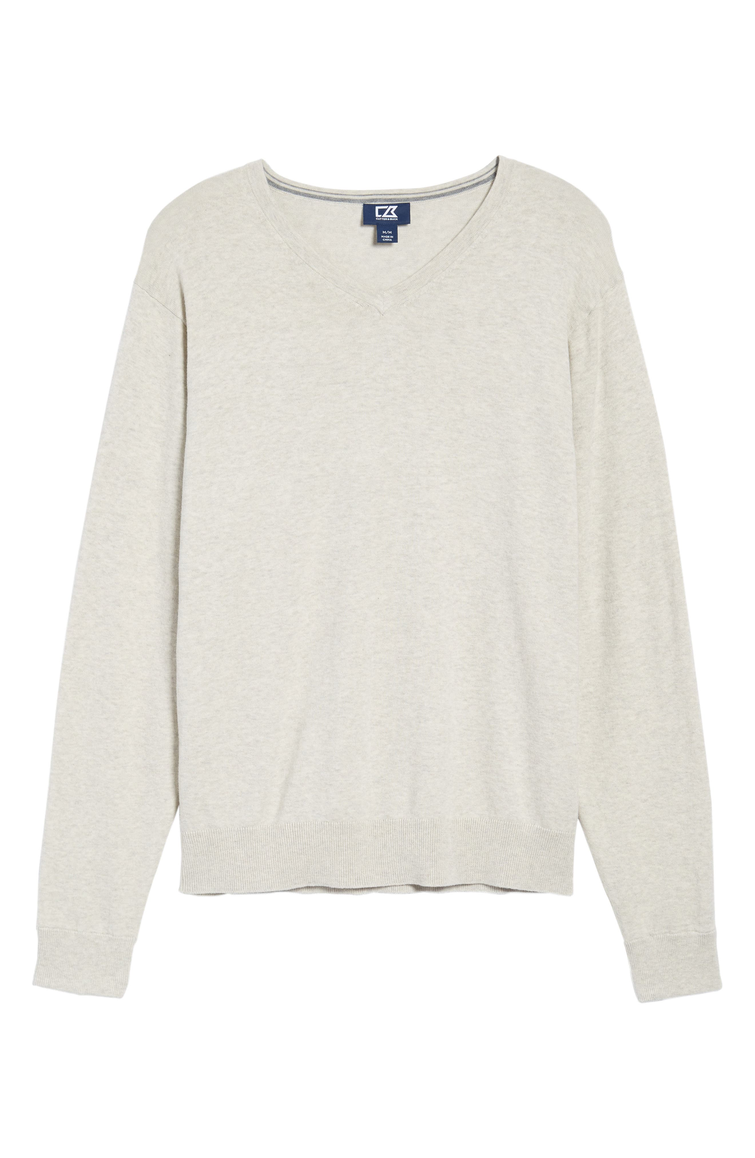 CUTTER & BUCK, Lakemont Classic Fit V-Neck Sweater, Alternate thumbnail 6, color, OATMEAL HEATHER