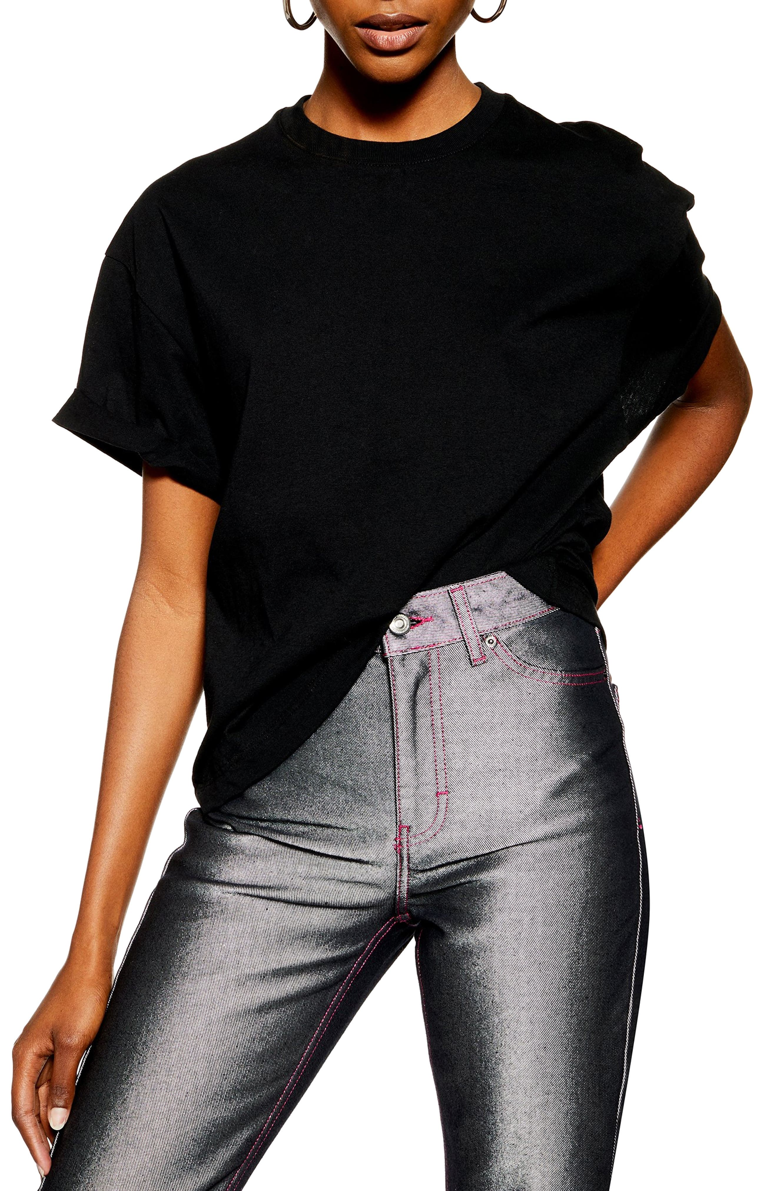TOPSHOP Boxy Roll Tee, Main, color, BLACK