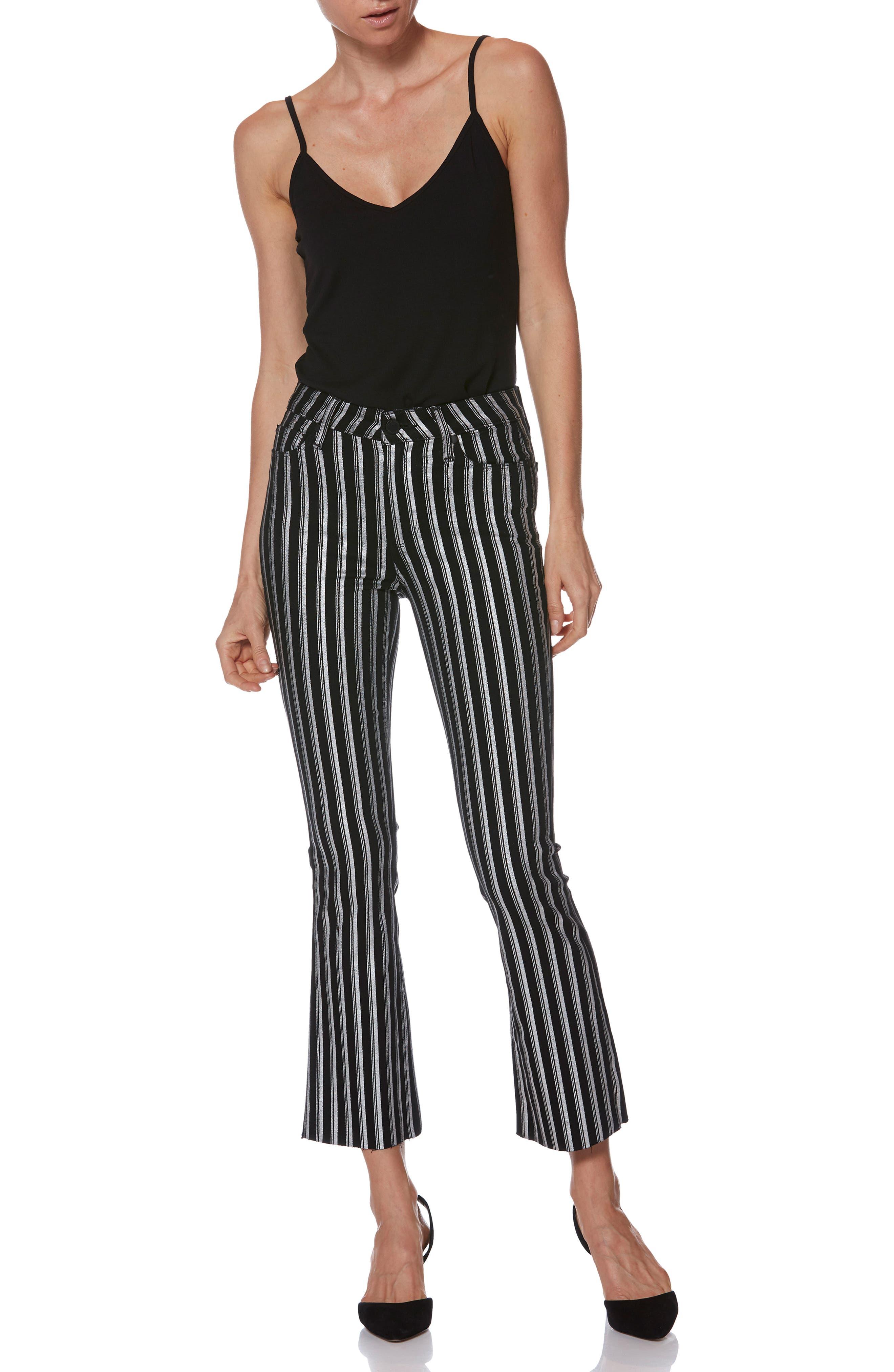 PAIGE, Colette High Waist Crop Flare Jeans, Alternate thumbnail 7, color, SILVER STRIPE