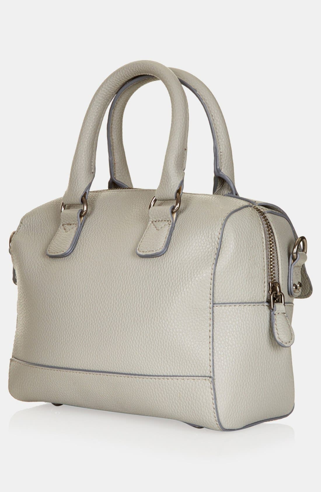 TOPSHOP, Faux Leather Mini Satchel, Alternate thumbnail 3, color, 020