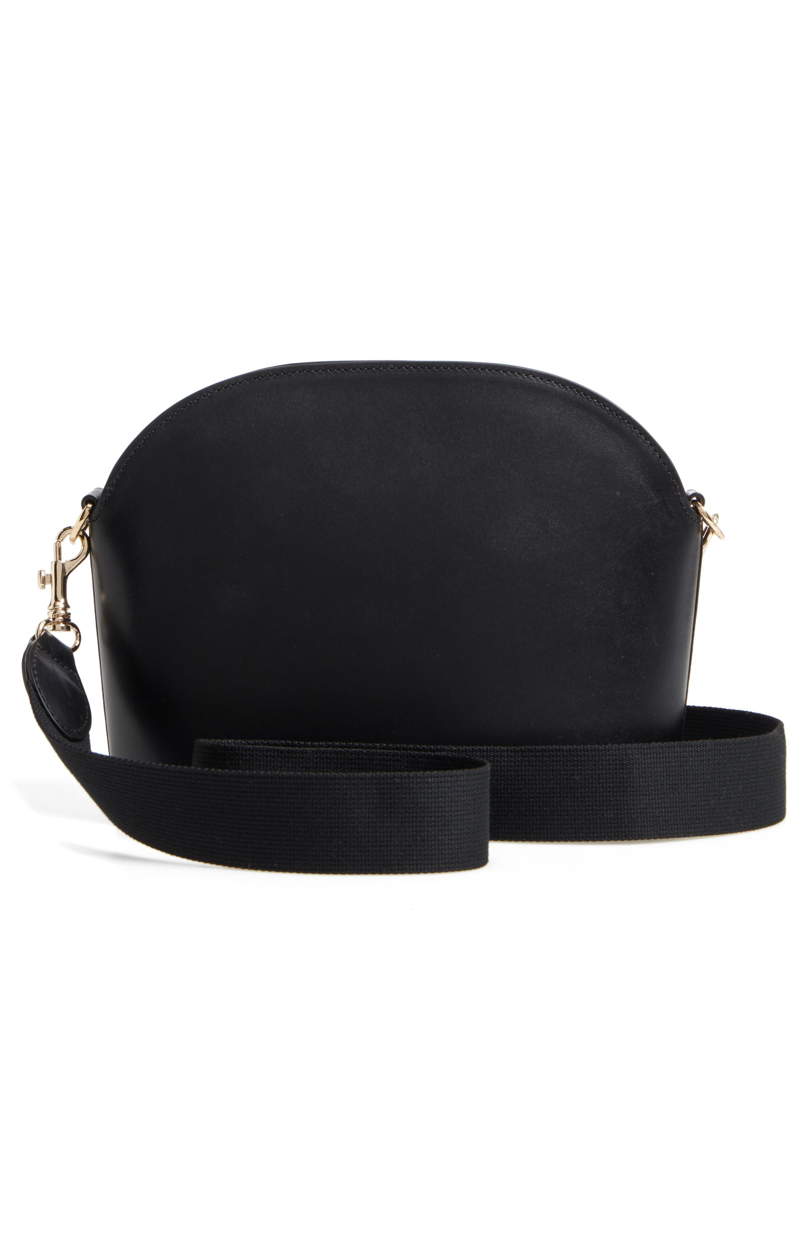 A.P.C., Gabrielle Leather Shoulder Bag, Alternate thumbnail 3, color, NOIR