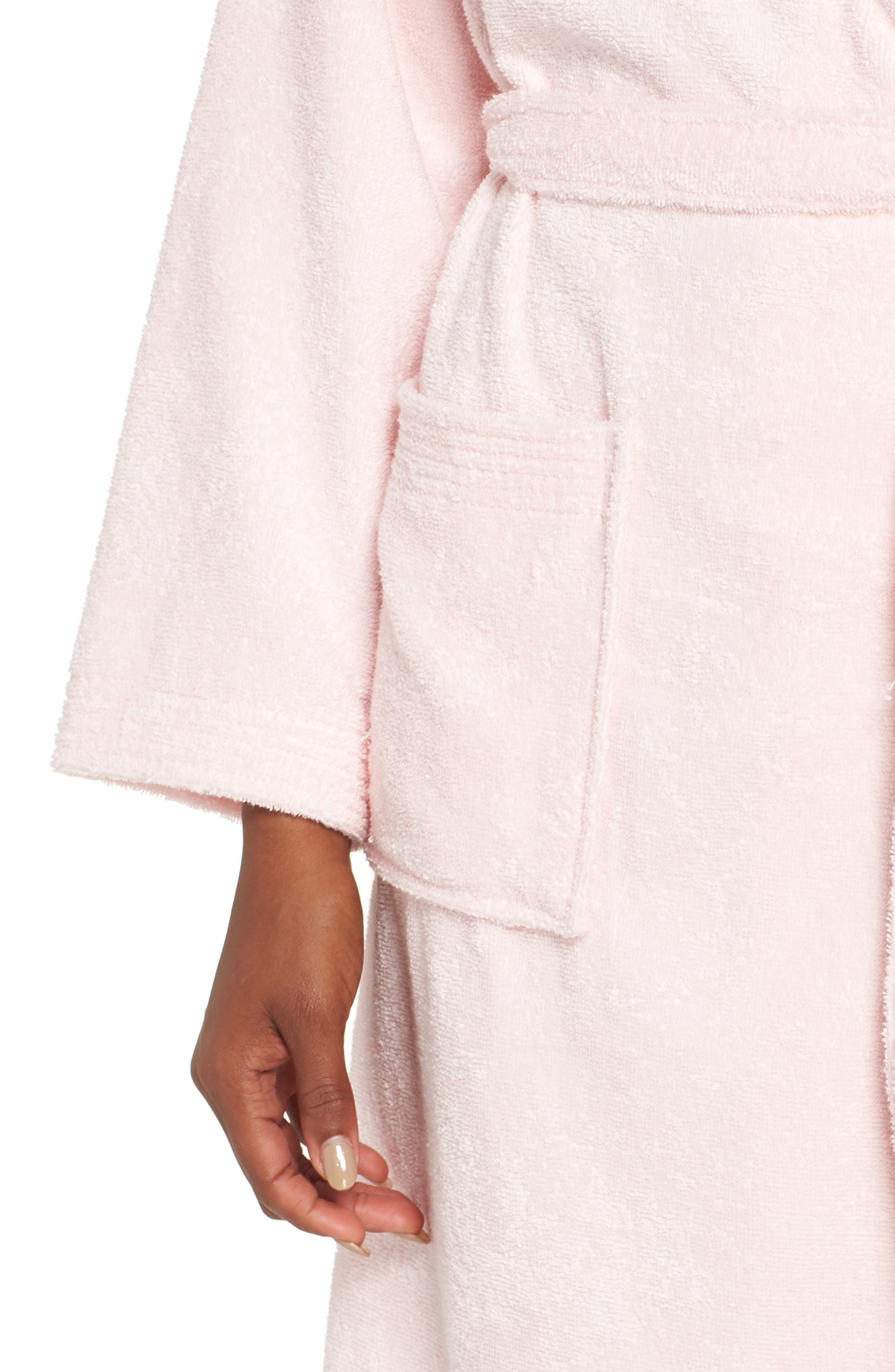 UGG<SUP>®</SUP>, Lorie Terry Short Robe, Alternate thumbnail 4, color, SEASHELL PINK