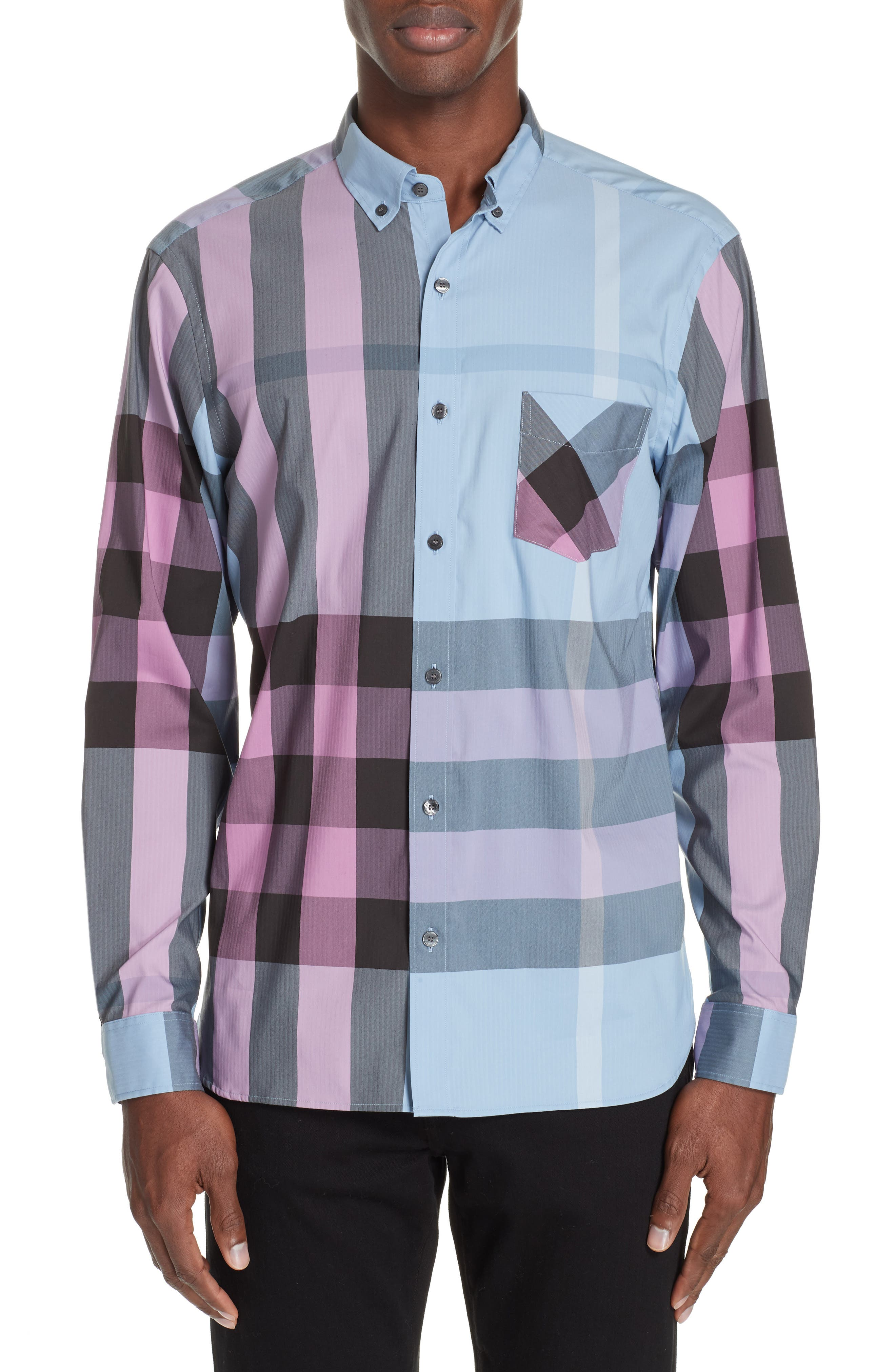 BURBERRY, Thornaby Slim Fit Check Sport Shirt, Main thumbnail 1, color, 400