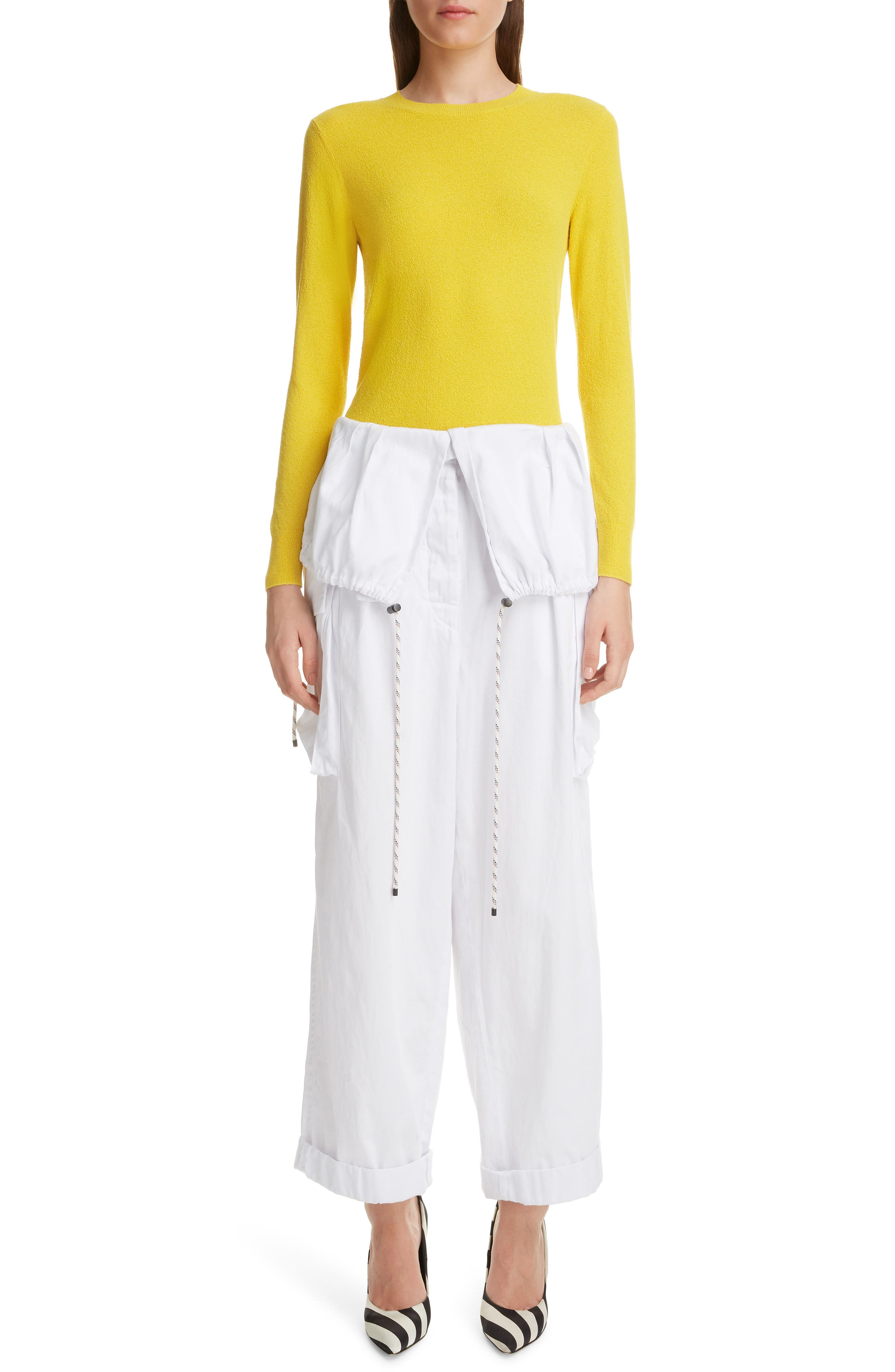 DRIES VAN NOTEN, Nadine Sweater, Alternate thumbnail 6, color, YELLOW