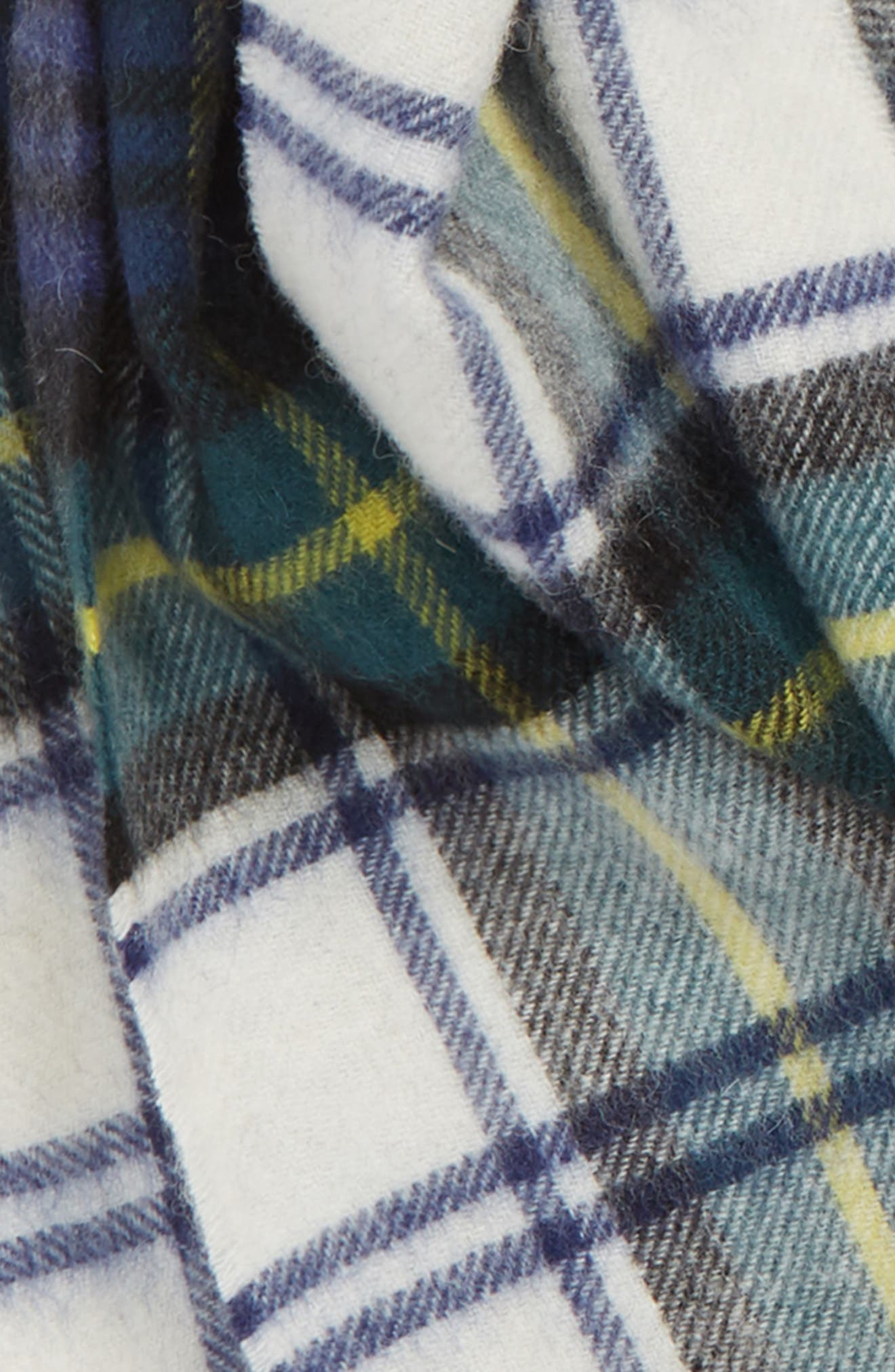 BARBOUR, New Check Lambswool & Cashmere Scarf, Alternate thumbnail 3, color, 400