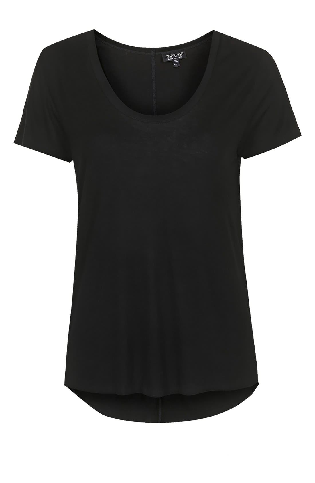 TOPSHOP, Short Sleeve V-Neck Tee, Alternate thumbnail 2, color, 001