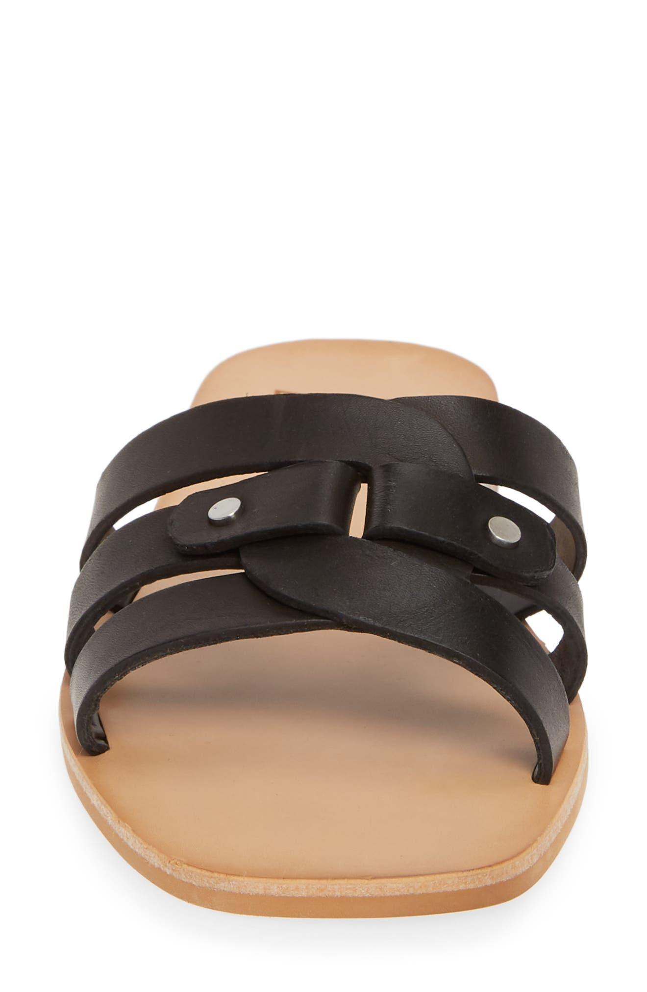 DOLCE VITA, Cait Slide Sandal, Alternate thumbnail 4, color, BLACK LEATHER