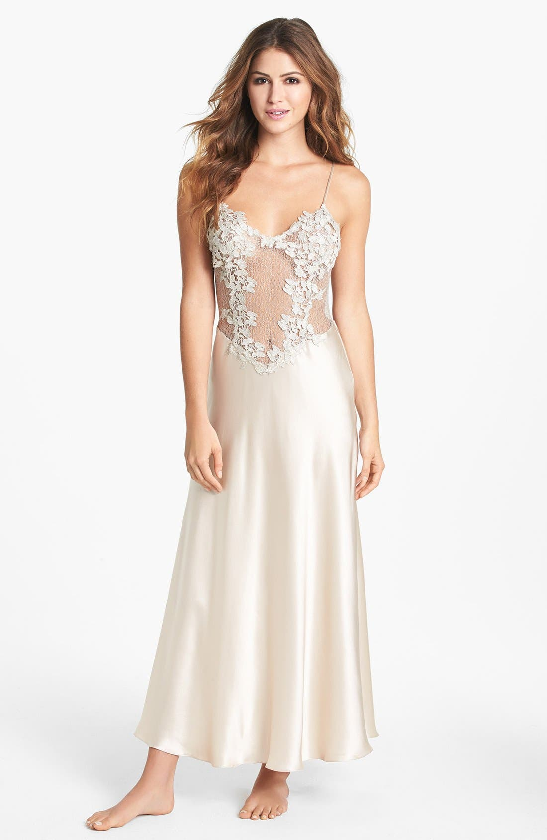 FLORA NIKROOZ, Showstopper Nightgown, Main thumbnail 1, color, CHAMPAGNE