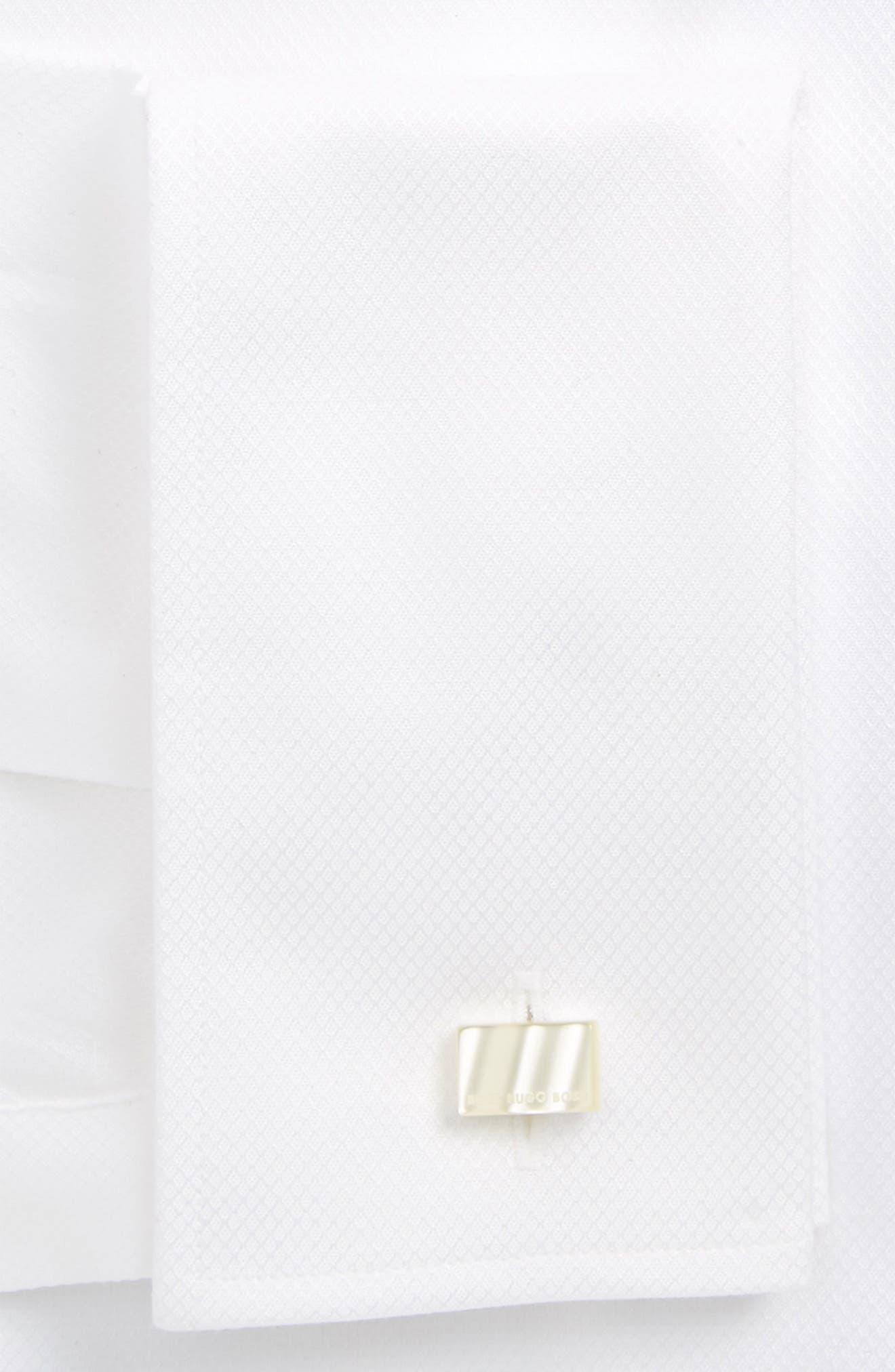 BOSS, Jameson Slim Fit Diamond Weave French Cuff Tuxedo Shirt, Alternate thumbnail 2, color, 120