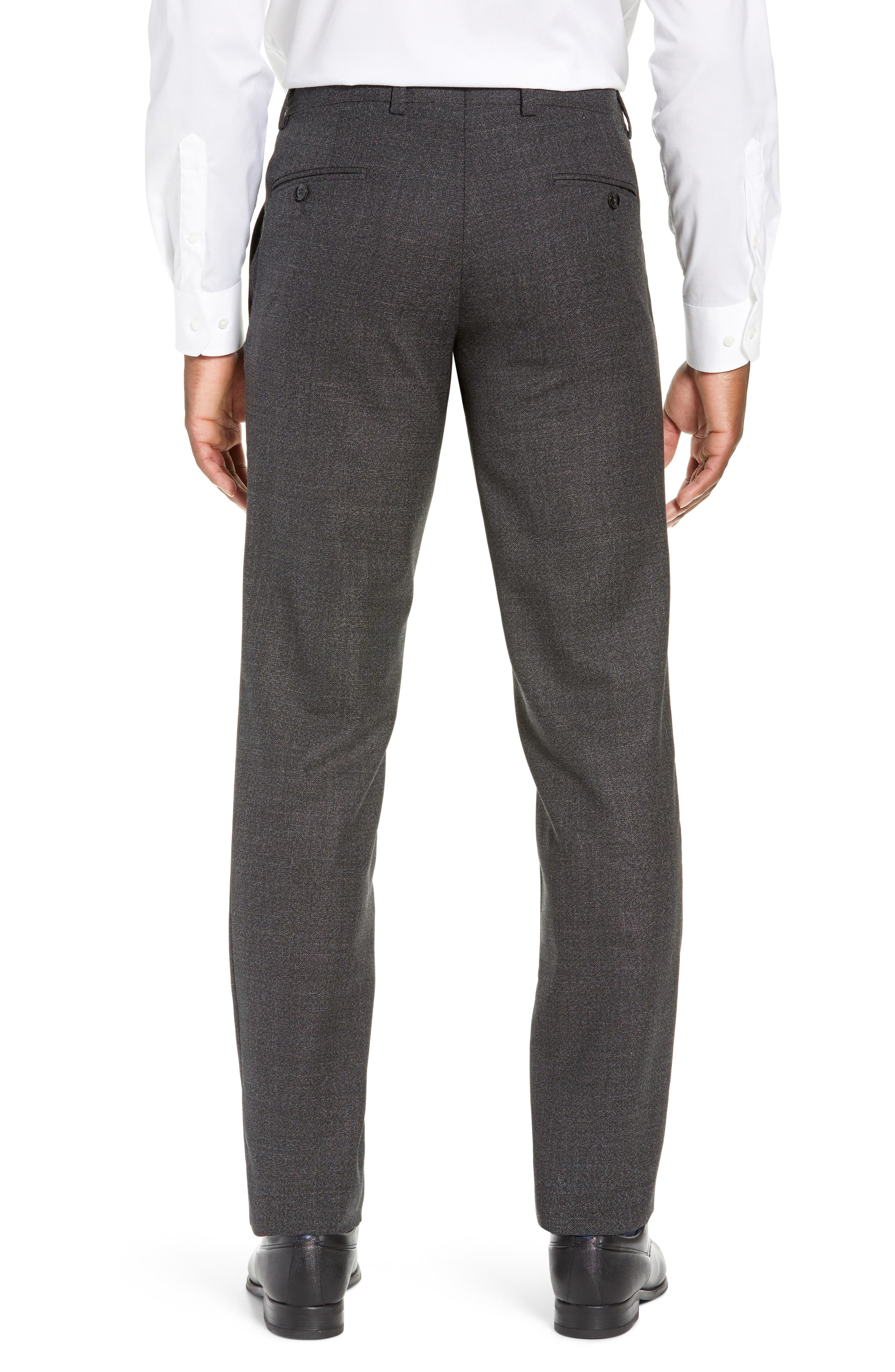TED BAKER LONDON, Jerome Flat Front Solid Wool Trousers, Alternate thumbnail 2, color, CHARCOAL