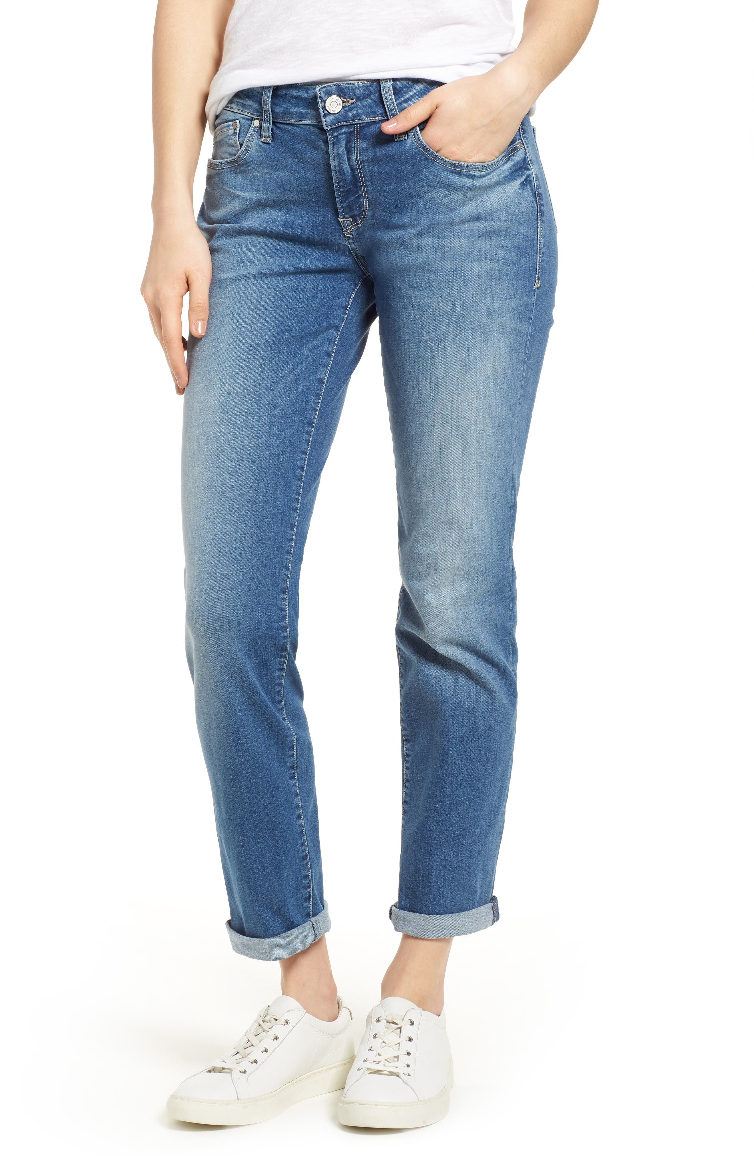 MAVI JEANS Emma Slim Boyfriend Jeans, Main, color, INDIGO RIPPED NOLITA