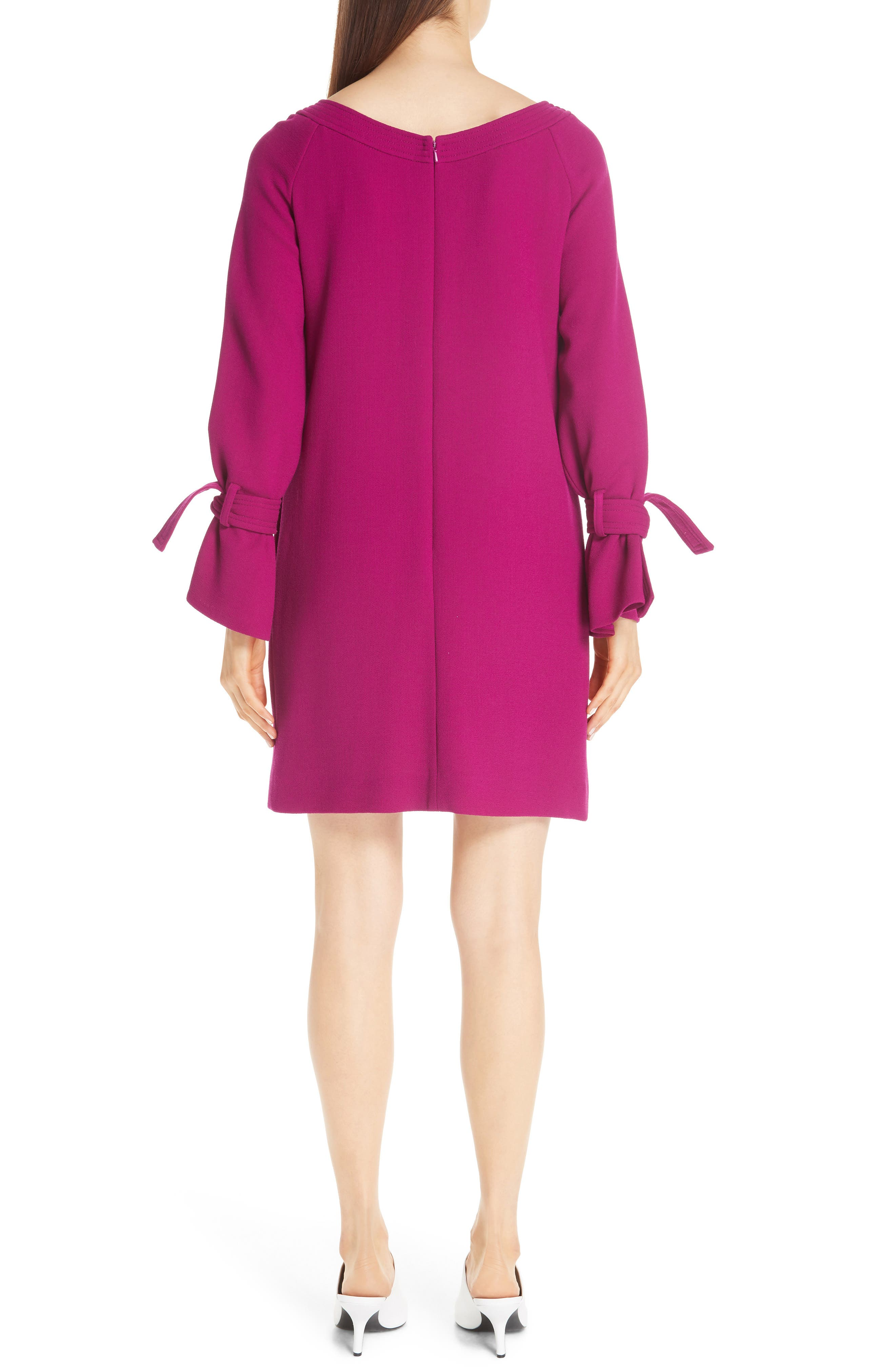 LELA ROSE, Tie Cuff Wool Blend Crepe Shift Dress, Alternate thumbnail 2, color, MAGENTA