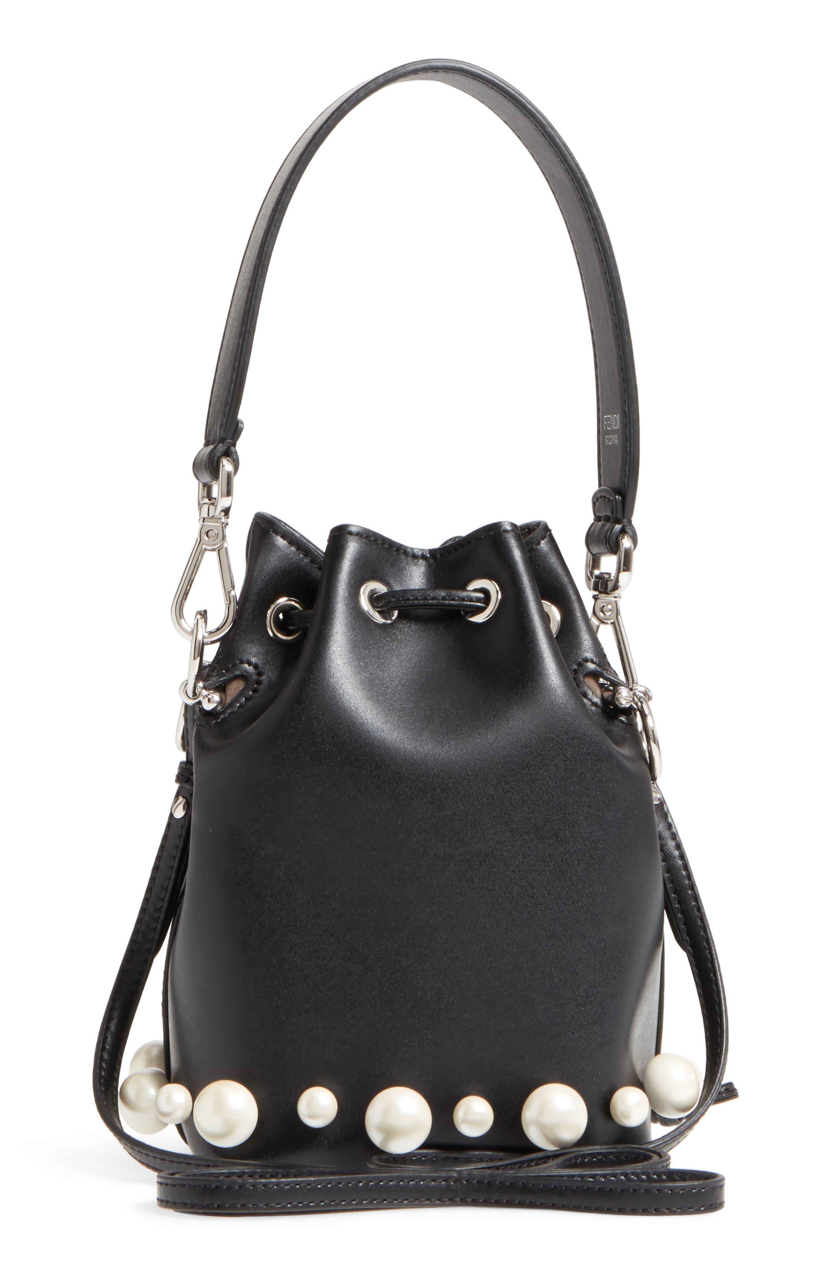 FENDI, Imitation Pearl Calfskin Bucket Bag, Alternate thumbnail 3, color, BLACK