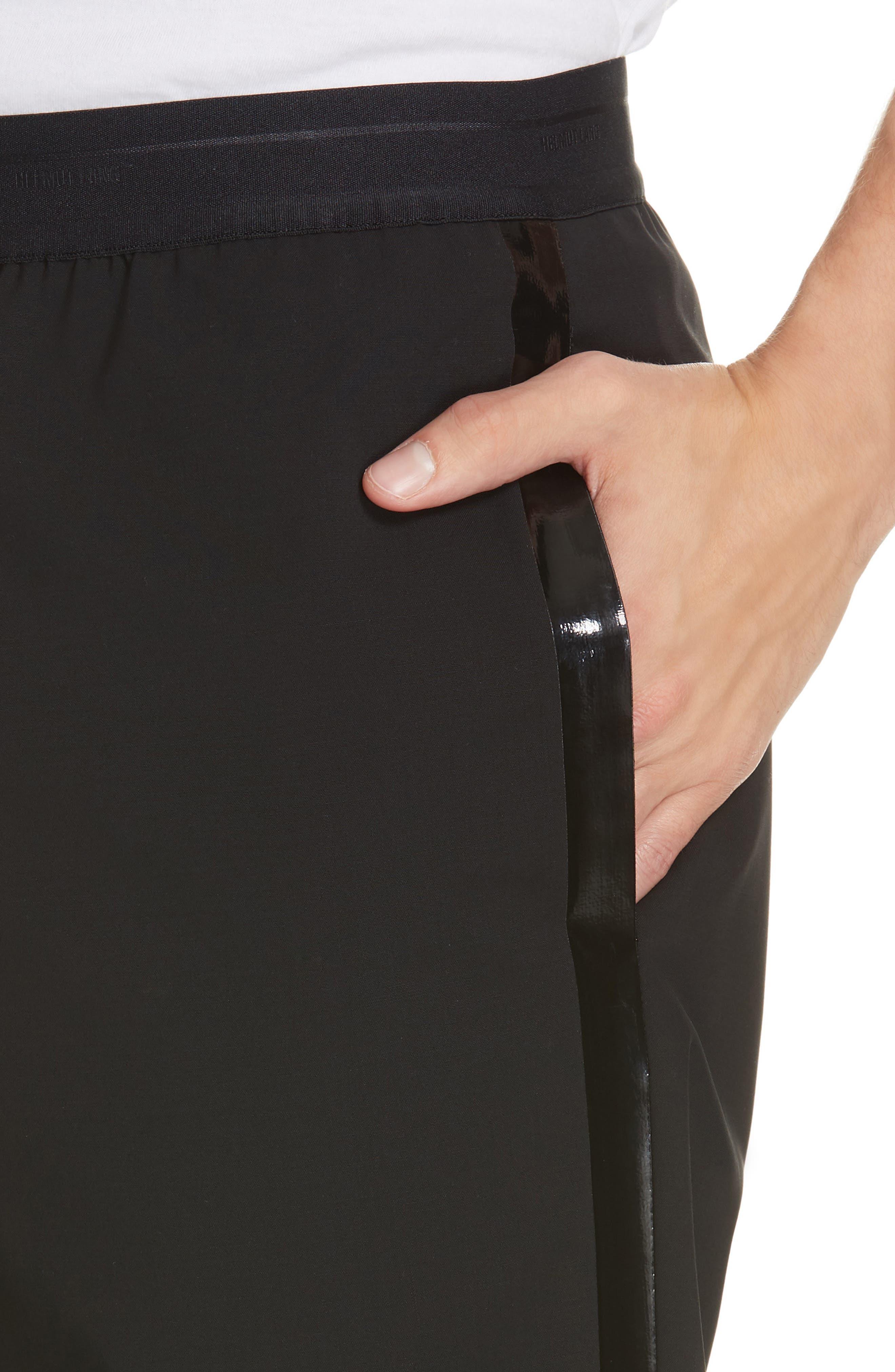 HELMUT LANG, Wool Pants, Alternate thumbnail 4, color, BLACK ON BLACK