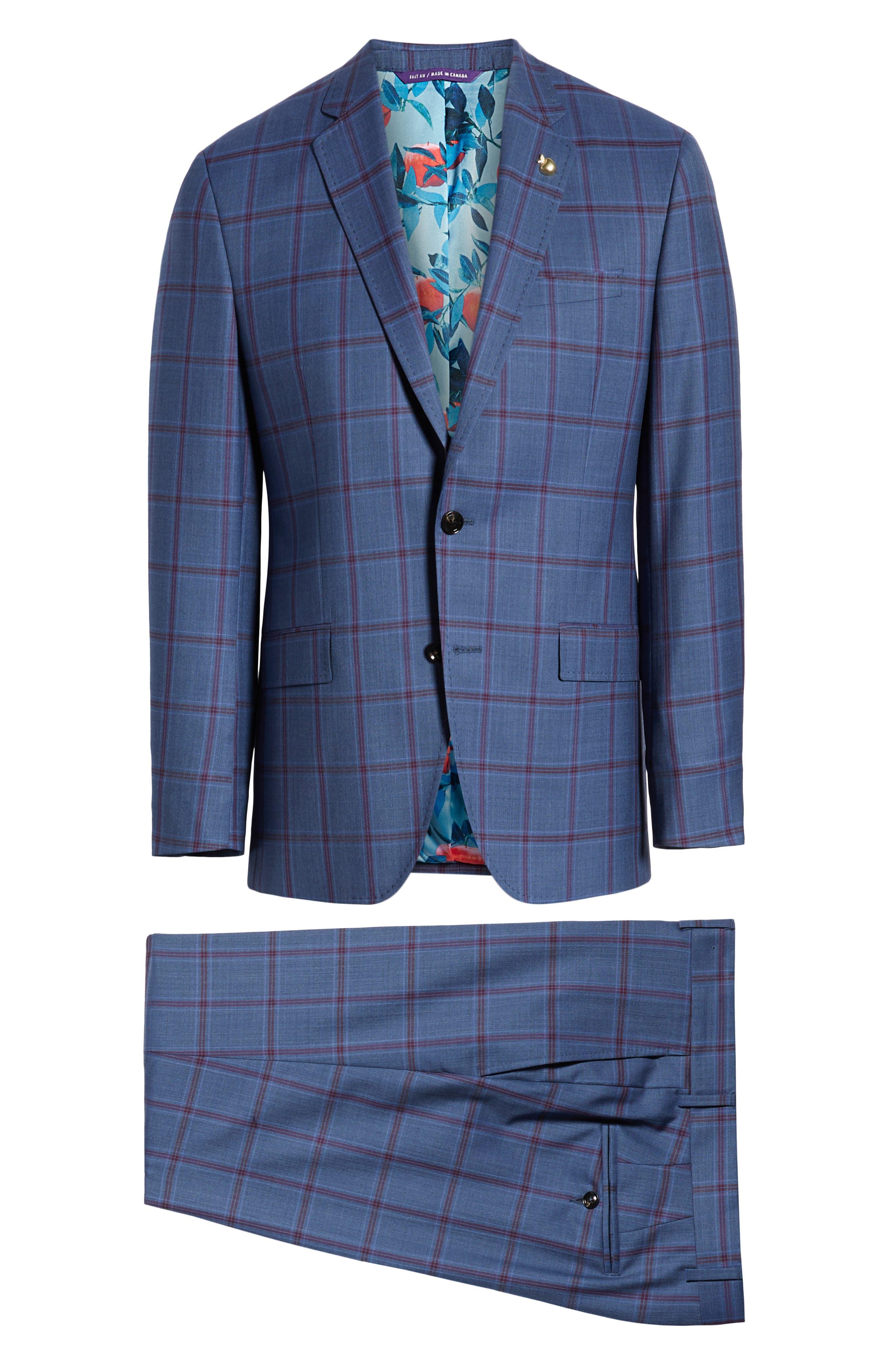 TED BAKER LONDON, Jay Trim Fit Windowpane Suit, Alternate thumbnail 5, color, BLUE