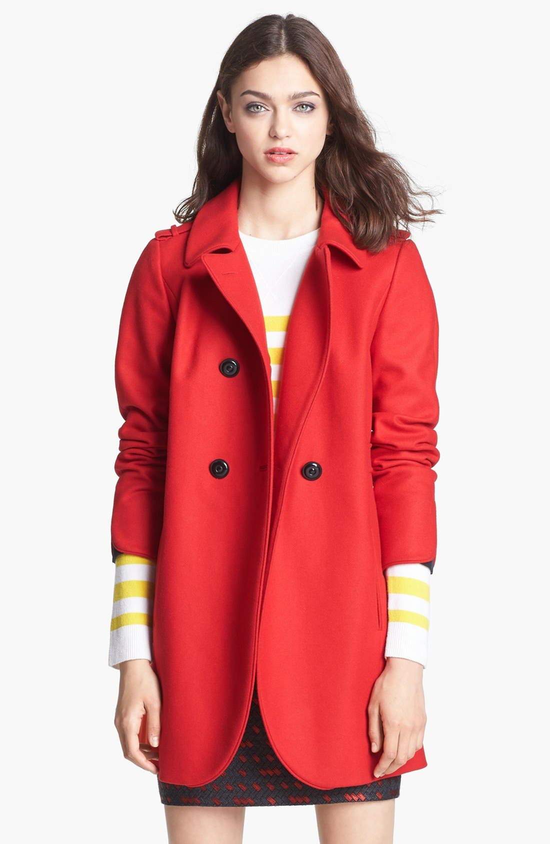 MISS WU, 'Torre' Wool Blend Military Jacket, Main thumbnail 1, color, 620