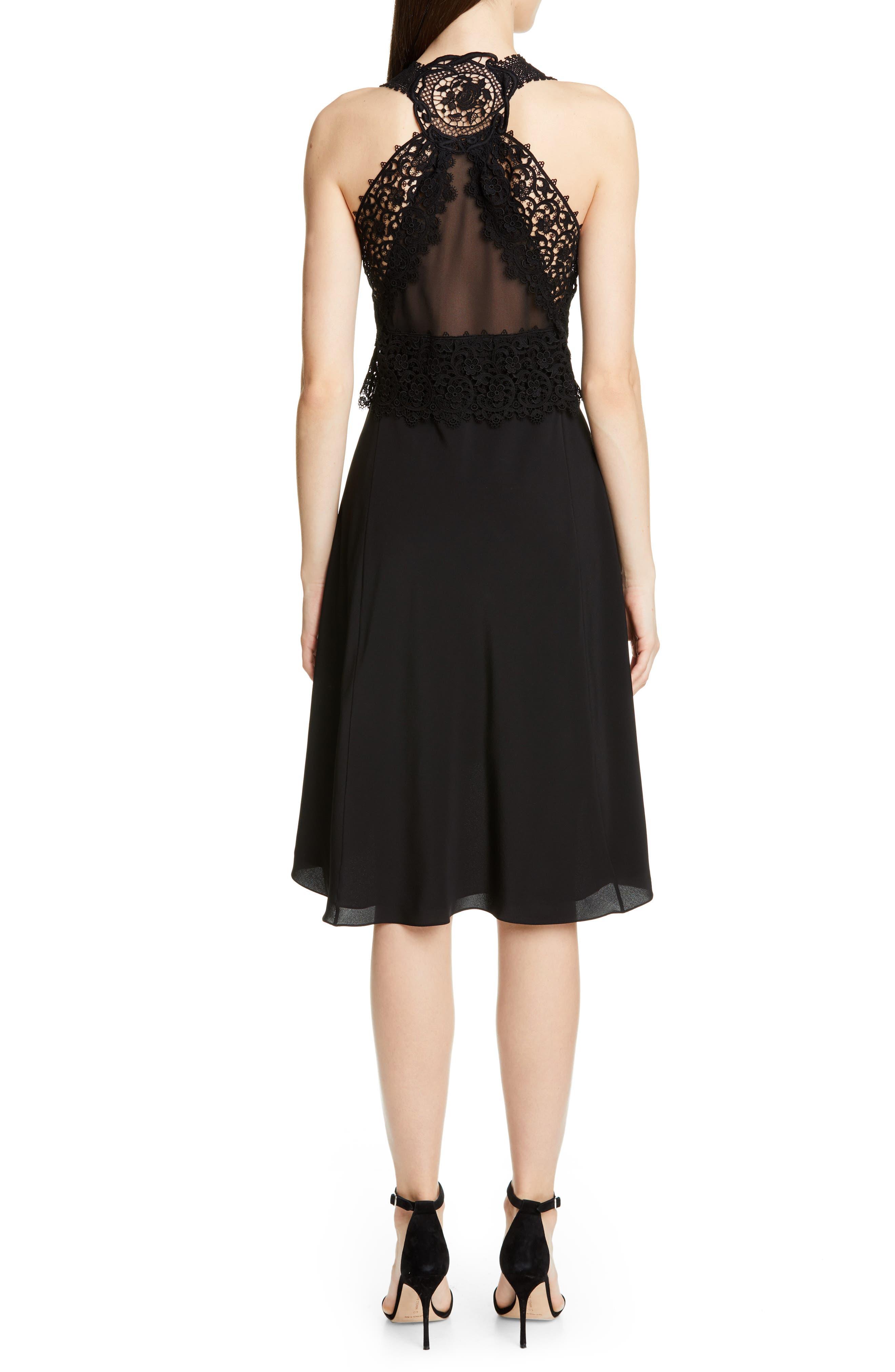 VICTORIA BECKHAM, Mixed Lace Trim High/Low Silk Dress, Alternate thumbnail 2, color, BLACK