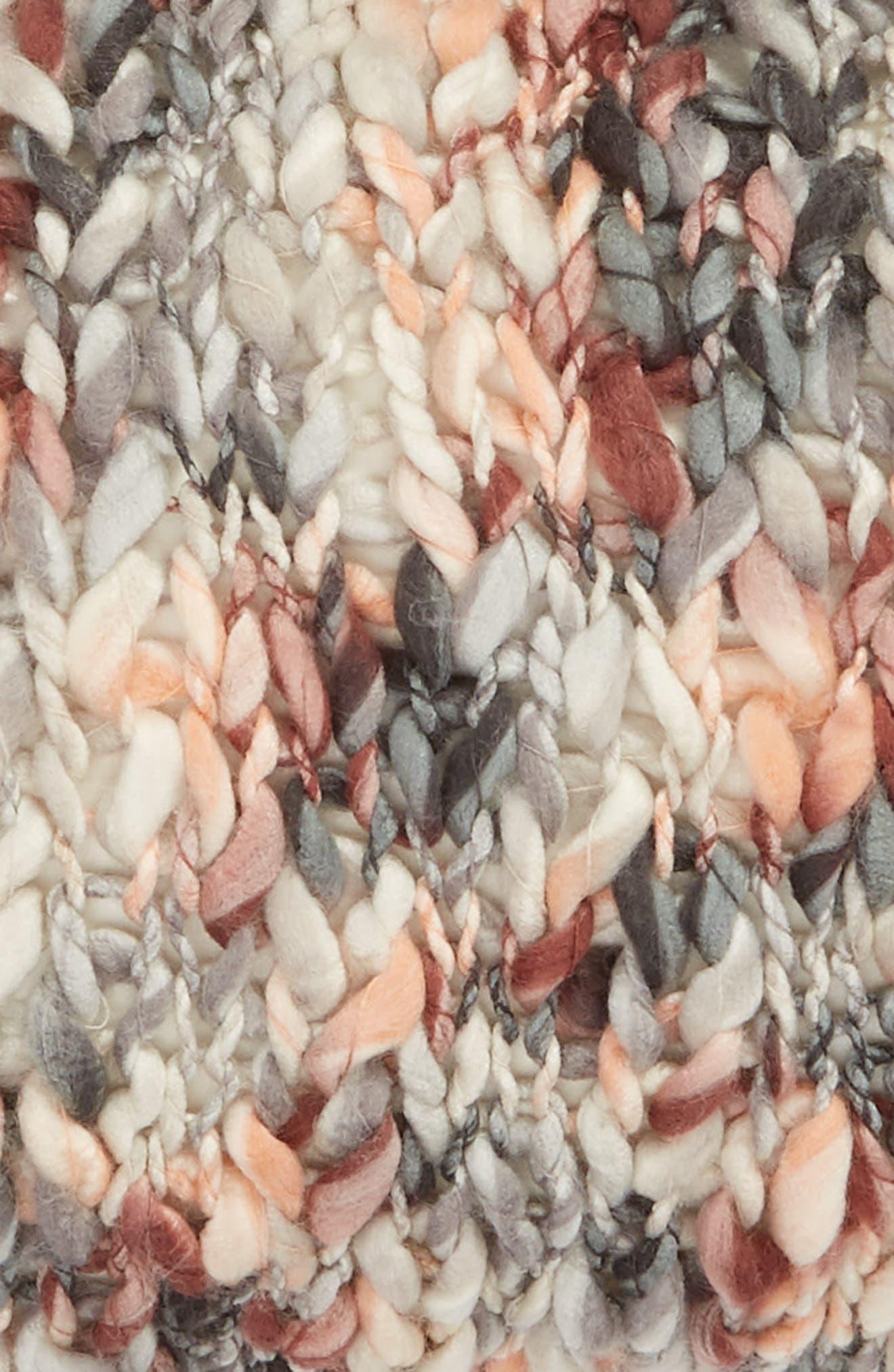 TREASURE & BOND, Slub Knit Accent Pillow, Alternate thumbnail 3, color, BROWN ROSE MULTI