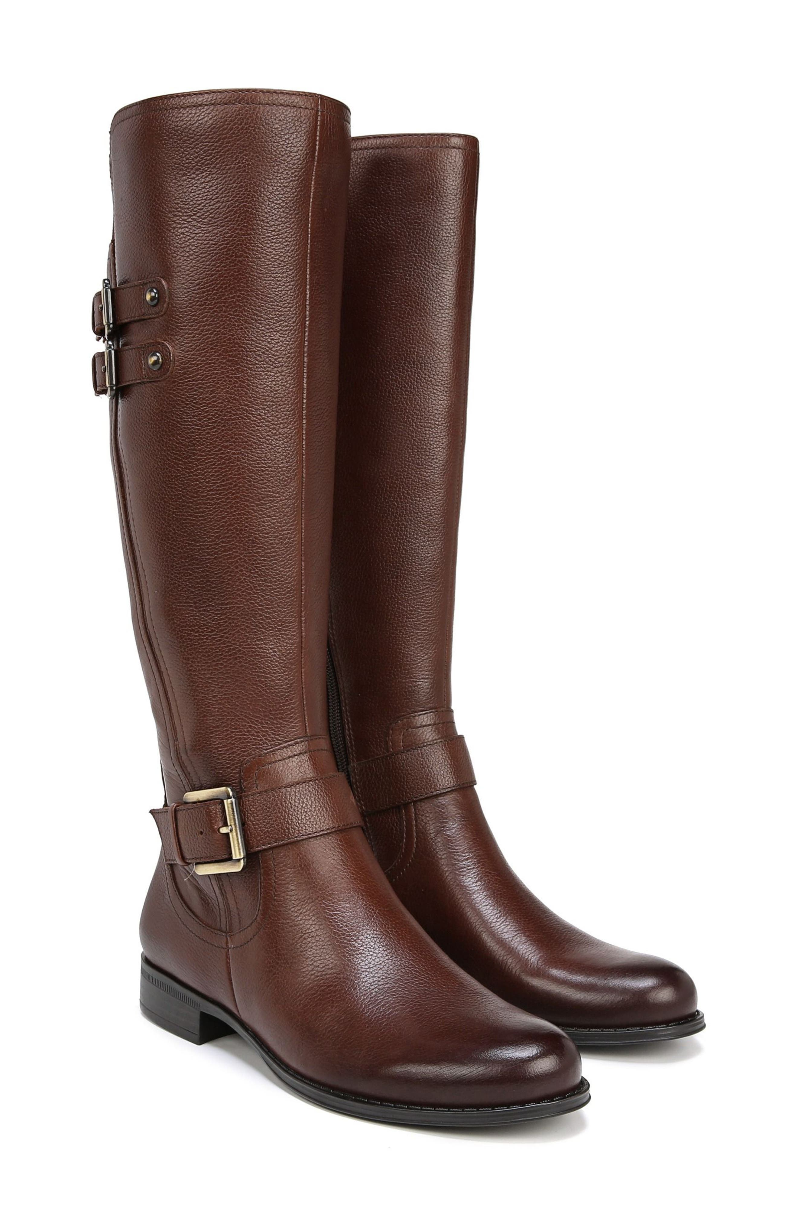 NATURALIZER, Jessie Knee High Riding Boot, Alternate thumbnail 8, color, CHOCOLATE LEATHER