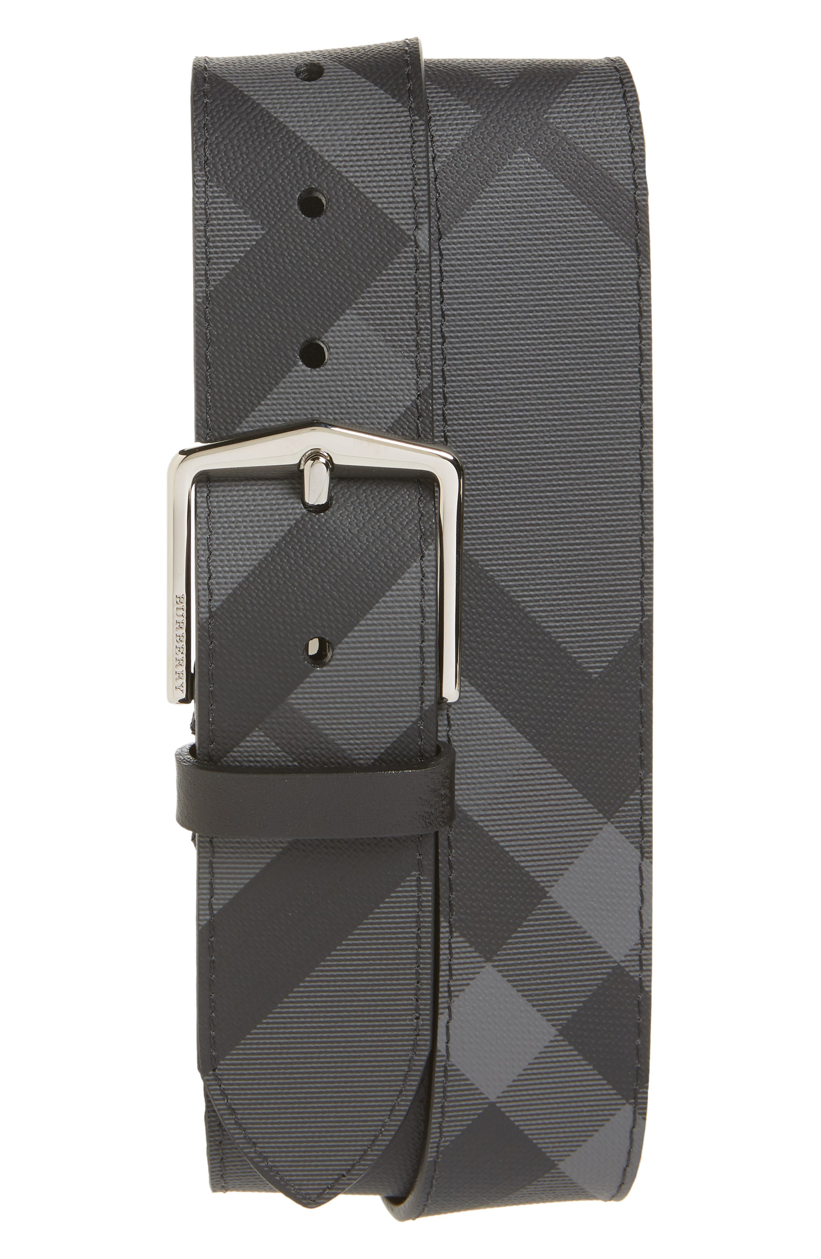BURBERRY Joe Check Belt, Main, color, CHARCOAL/ BLACK