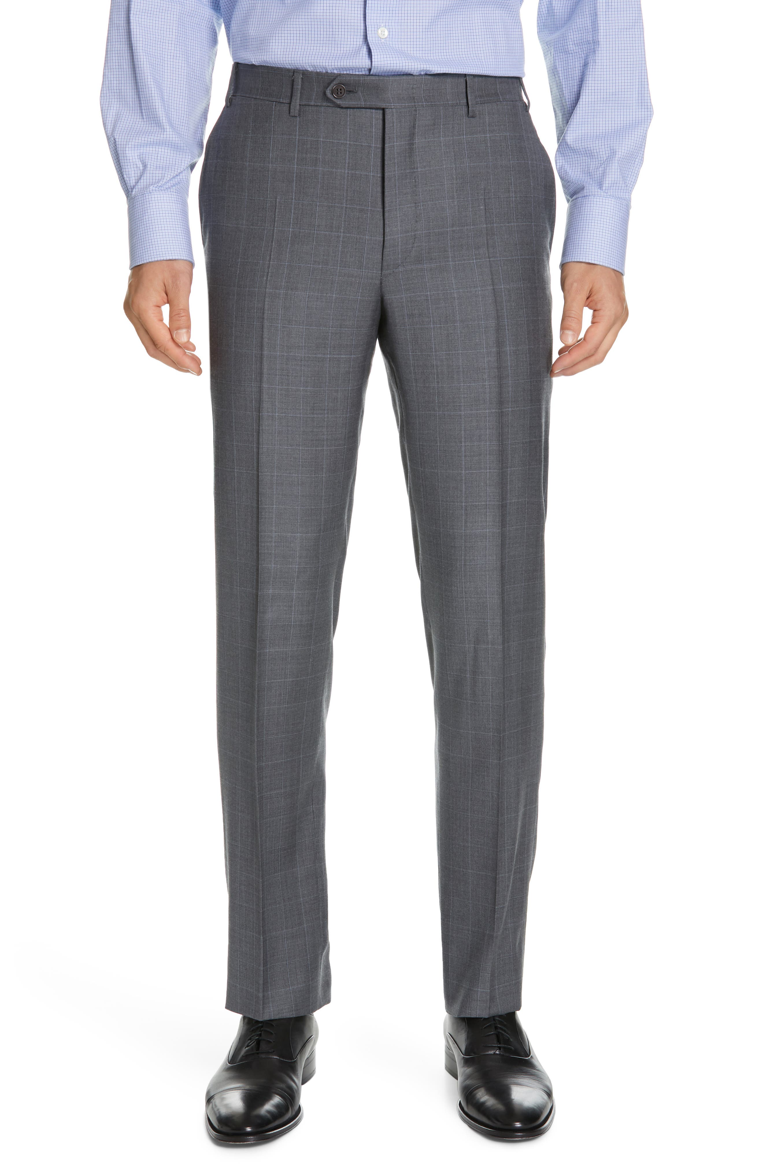 CANALI, Sienna Classic Fit Plaid Wool Suit, Alternate thumbnail 6, color, GREY