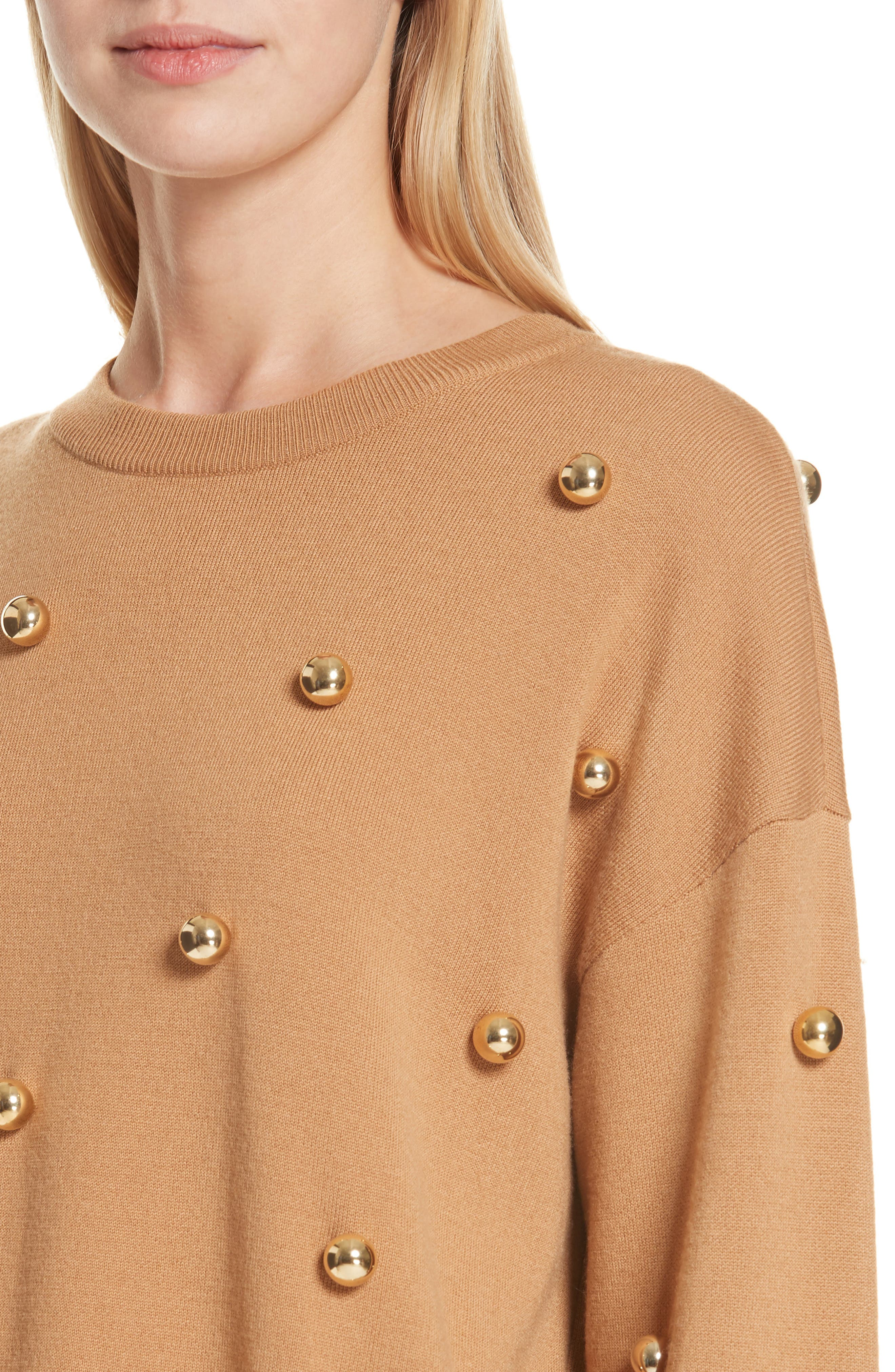 ALICE + OLIVIA, Gleeson Metal Ball Detail Wool Blend Sweater, Alternate thumbnail 4, color, 200