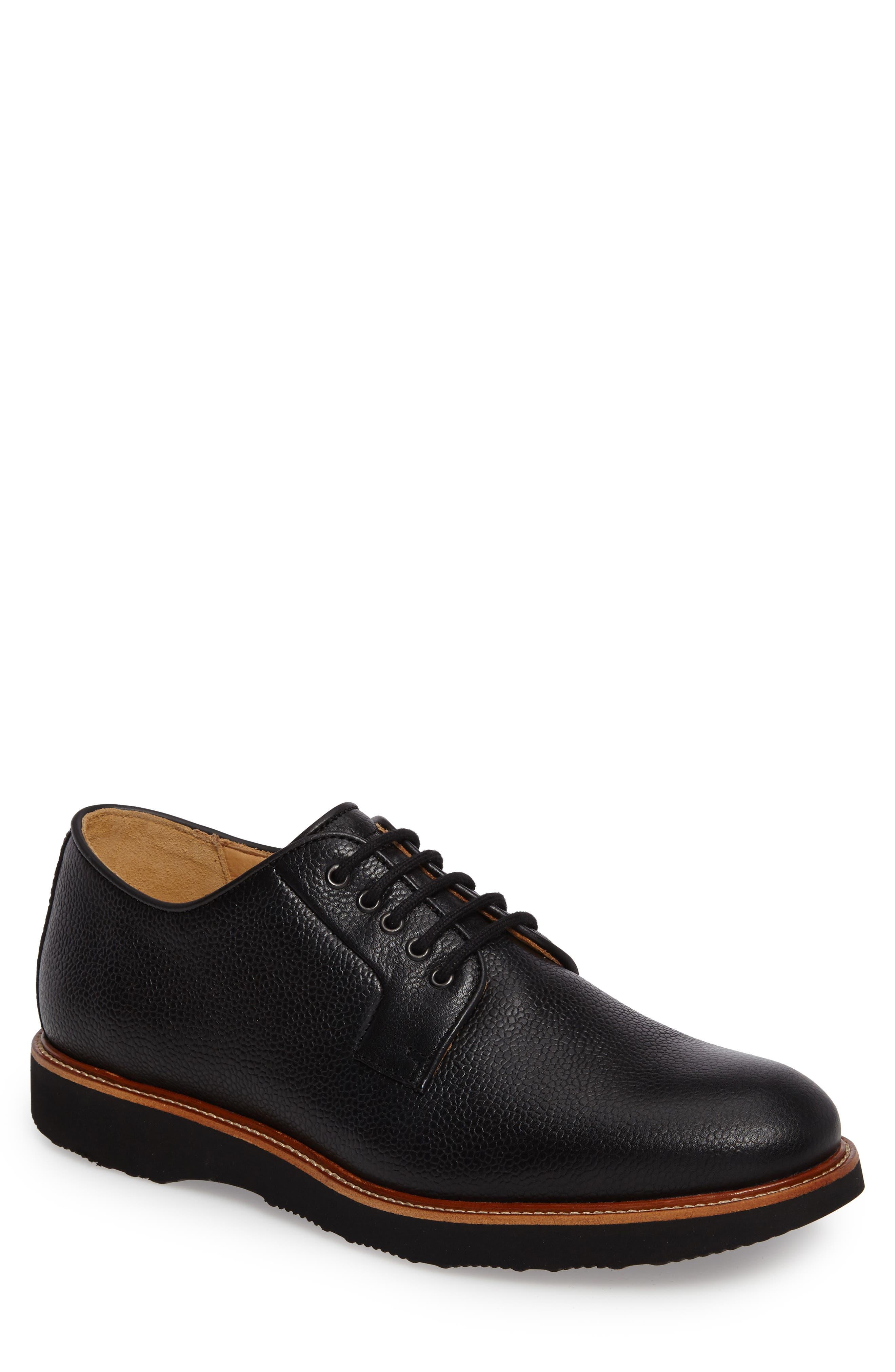 SAMUEL HUBBARD Highlander Plain Toe Derby, Main, color, BLACK PEBBLE GRAIN