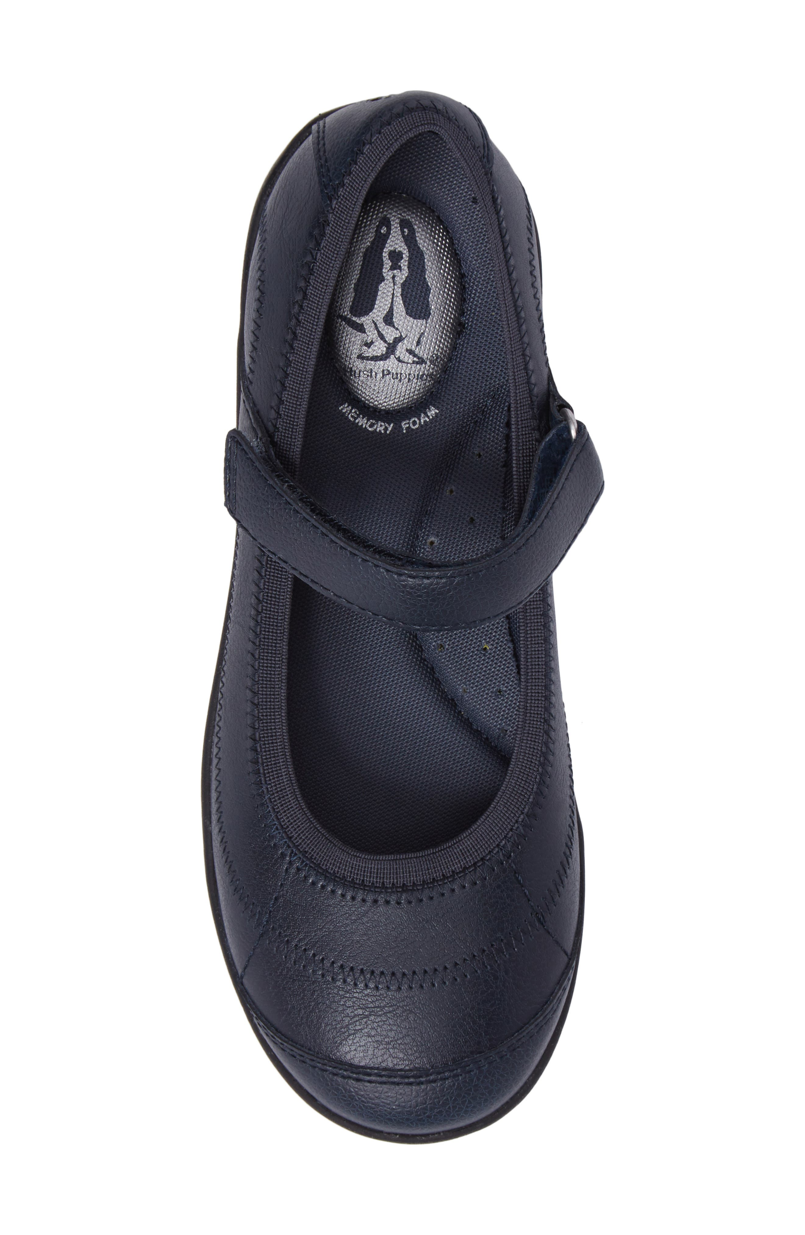HUSH PUPPIES<SUP>®</SUP>, Reese Mary Jane Flat, Alternate thumbnail 5, color, NAVY LEATHER