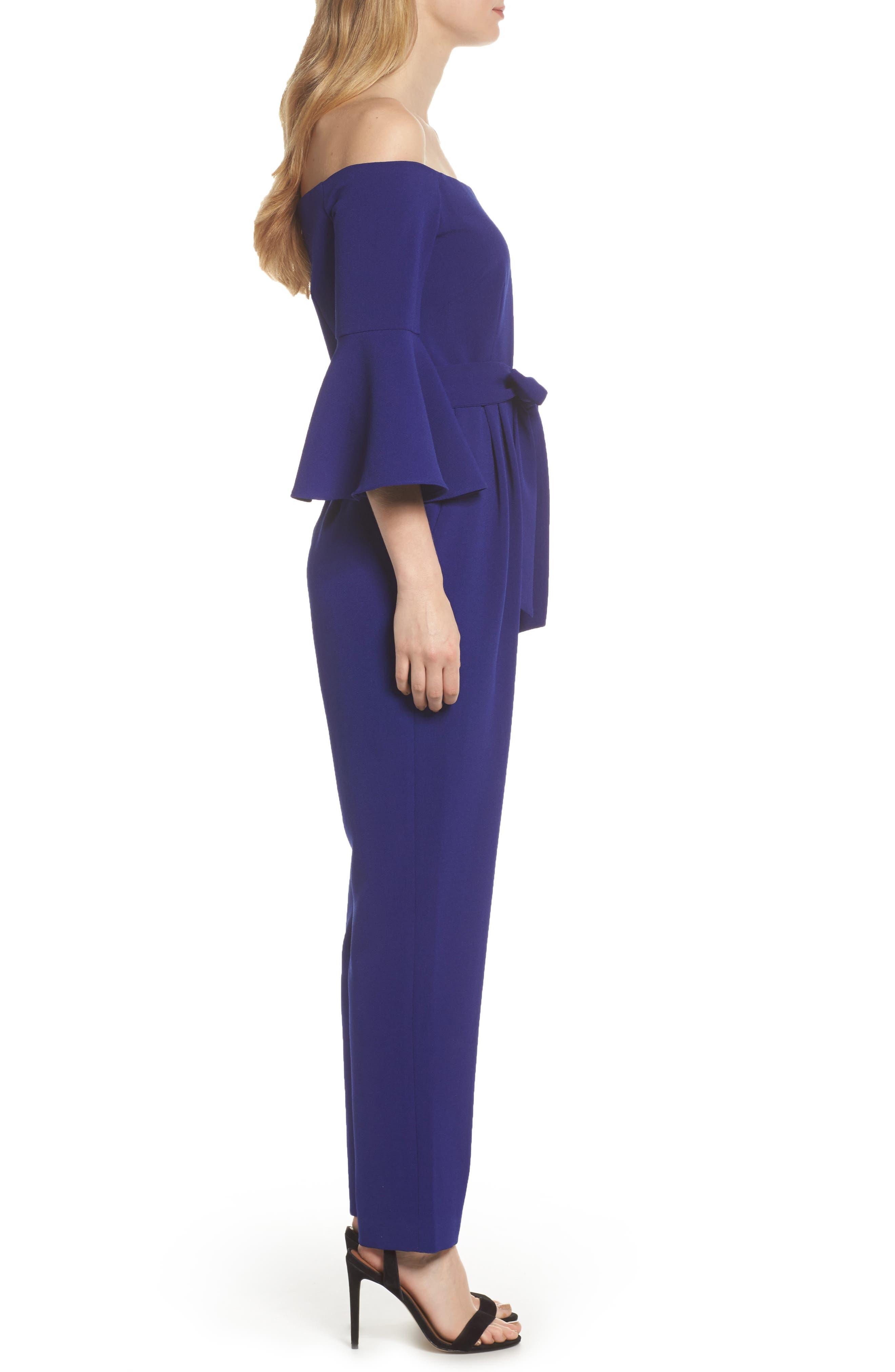 ELIZA J, Off the Shoulder Bell Sleeve Slim Leg Jumpsuit, Alternate thumbnail 3, color, COBALT
