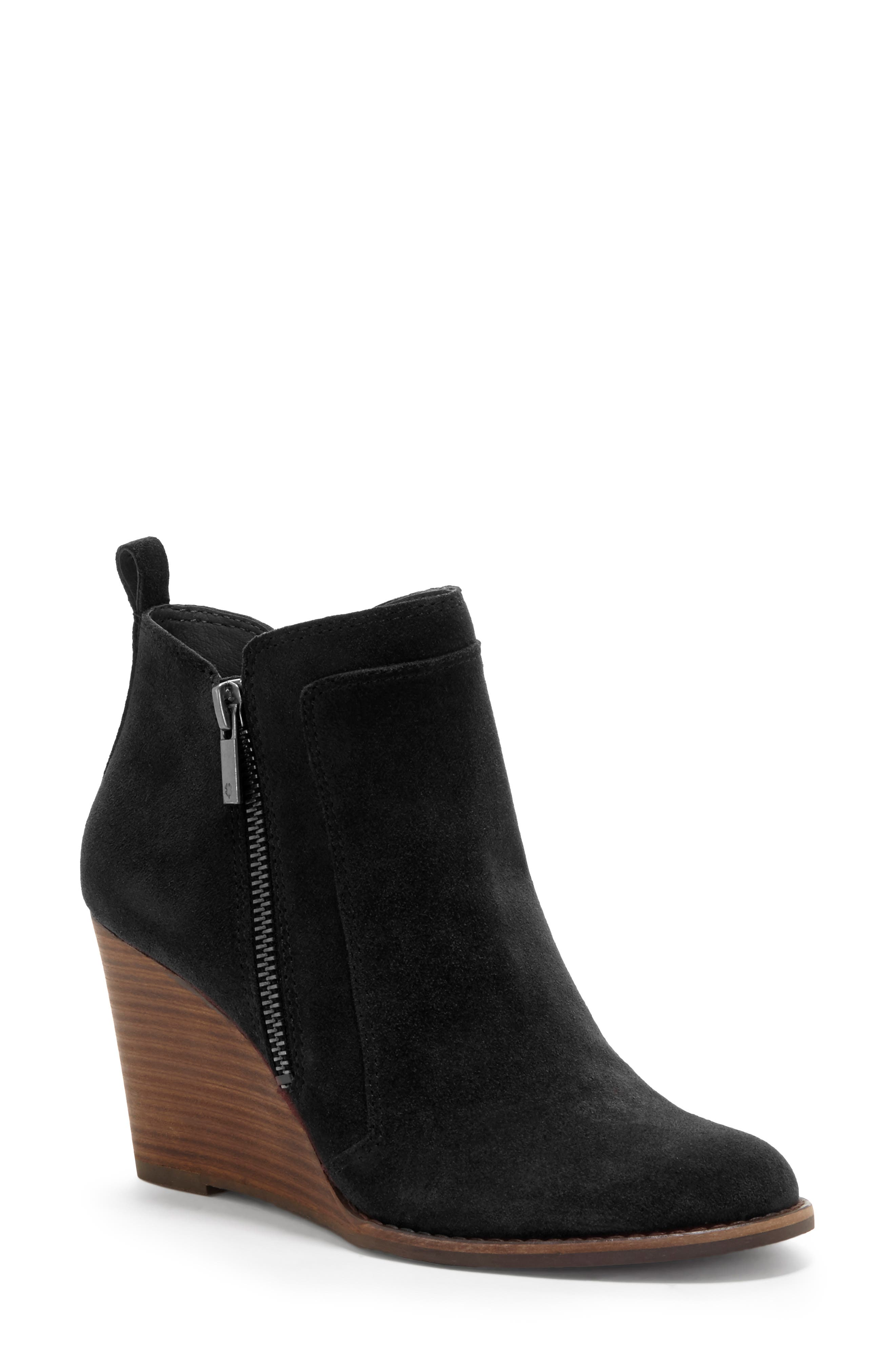 LUCKY BRAND, Yahir Wedge Bootie, Main thumbnail 1, color, BLACK SUEDE