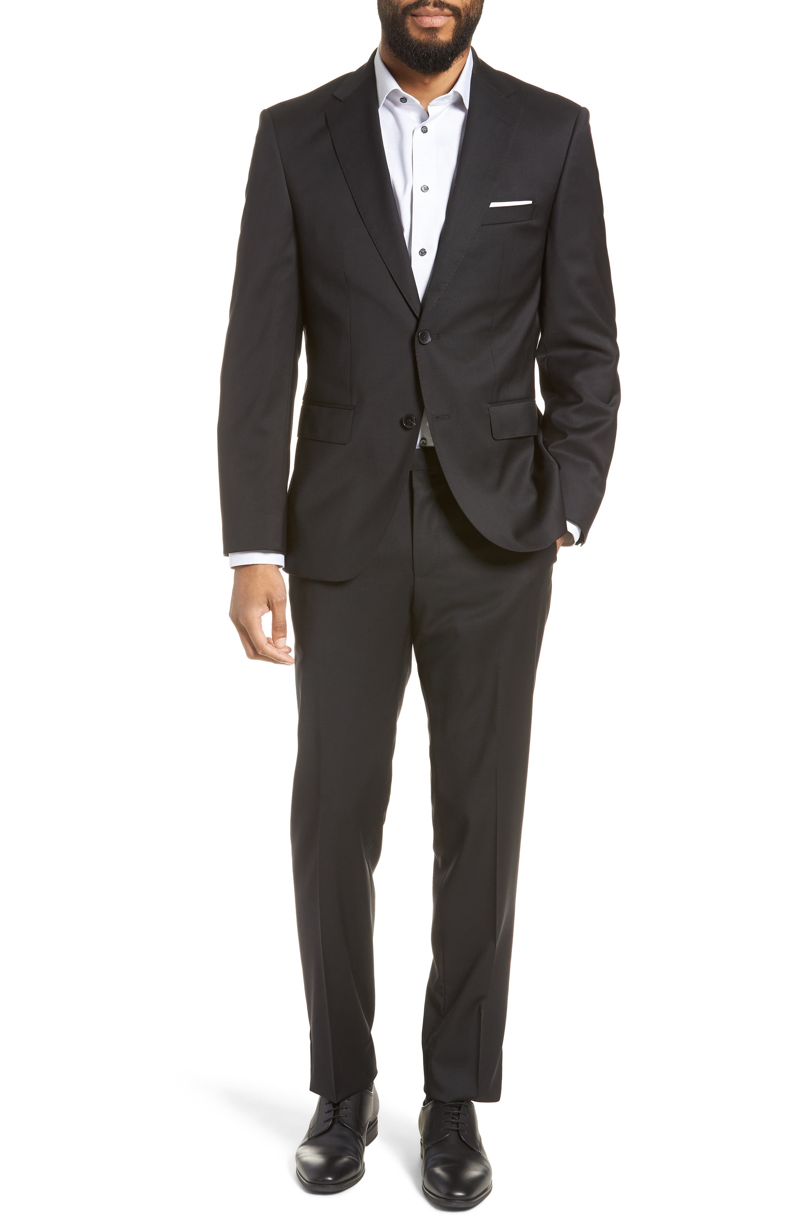 BOSS, Johnstons/Lenon Classic Fit Solid Wool Suit, Main thumbnail 1, color, BLACK
