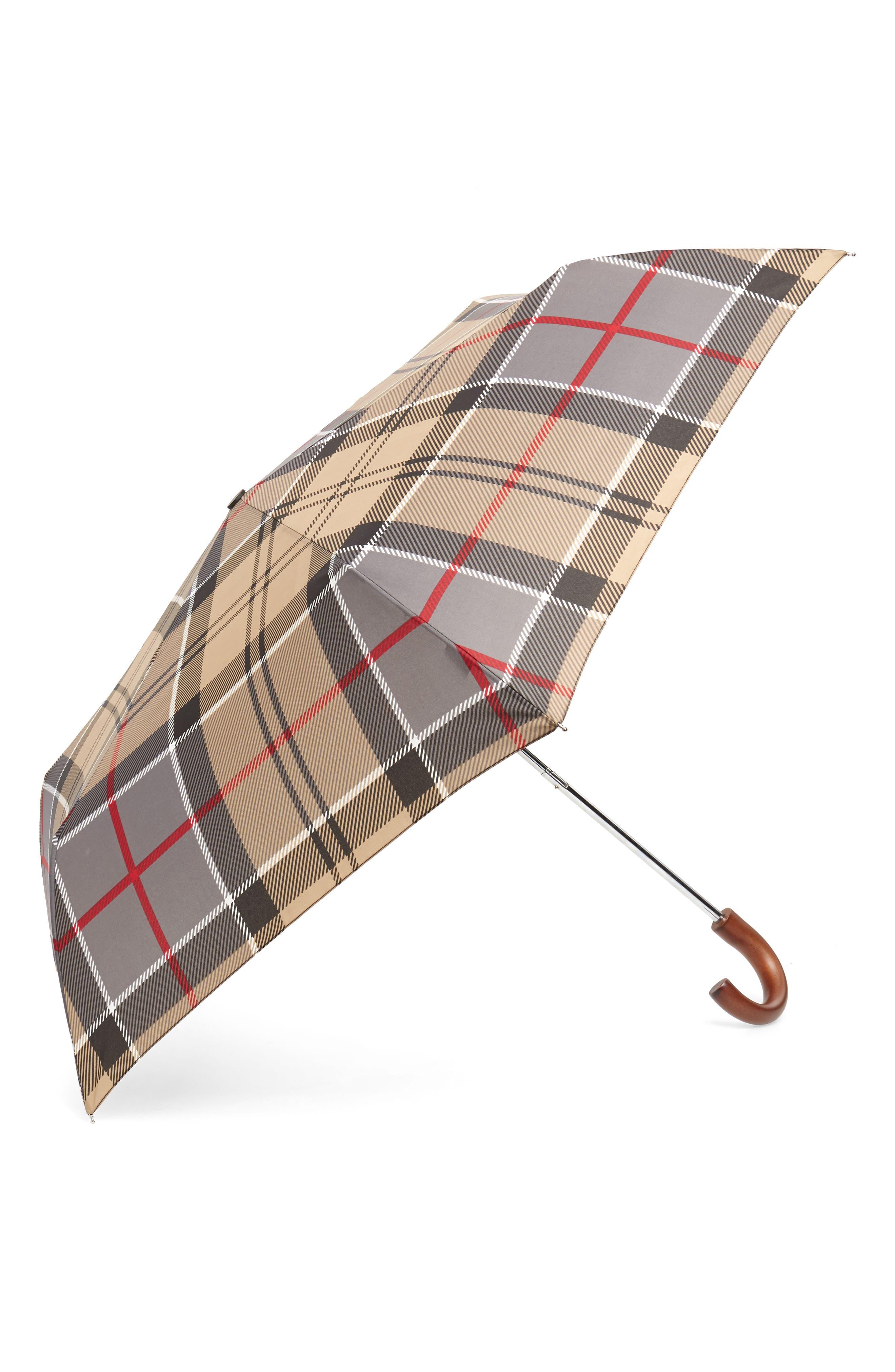 BARBOUR Tartan Plaid Mini Umbrella, Main, color, DRESS TARTAN