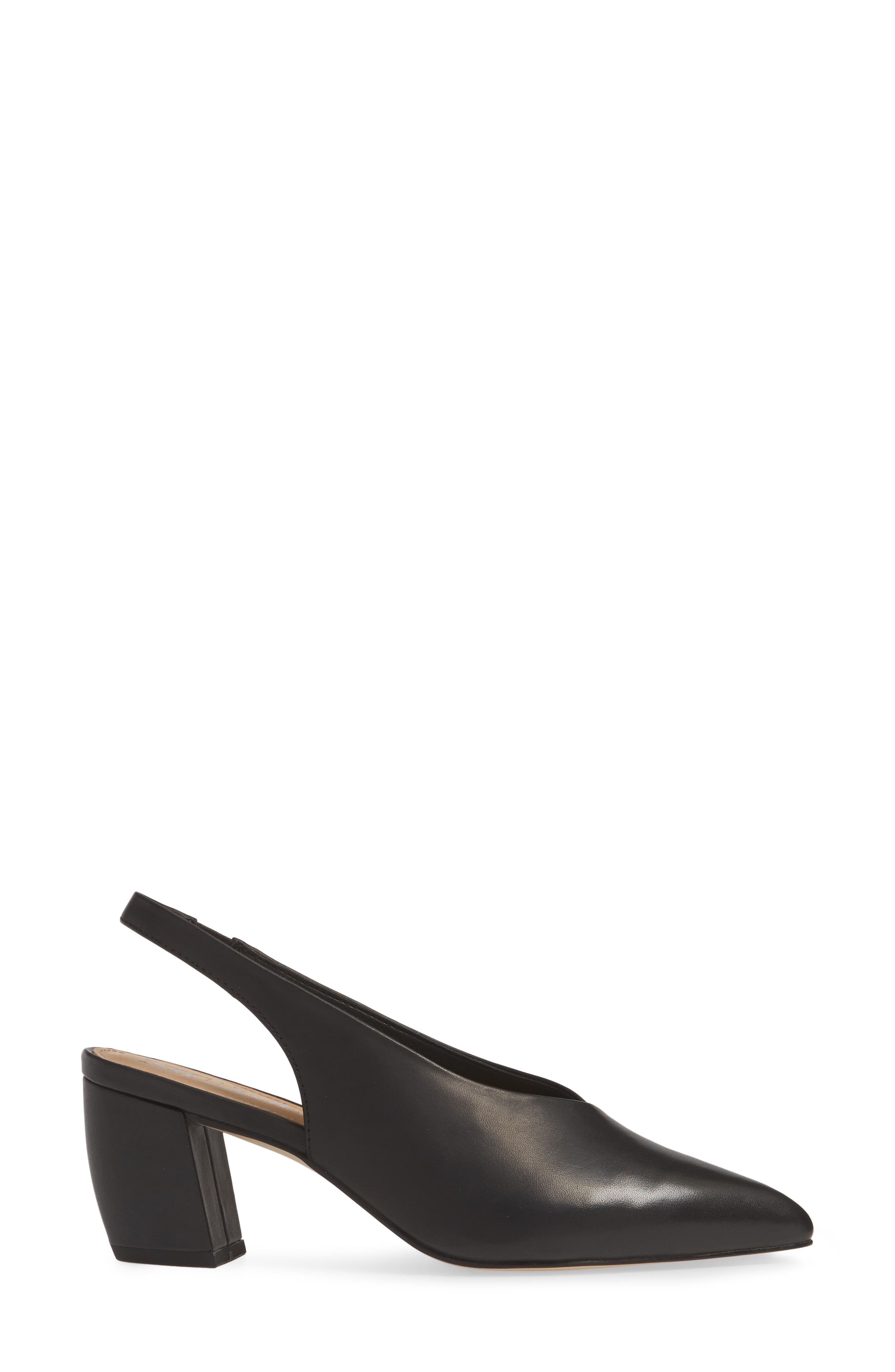 NIC+ZOE, Camille Slingback Pointy Toe Pump, Alternate thumbnail 3, color, BLACK LEATHER