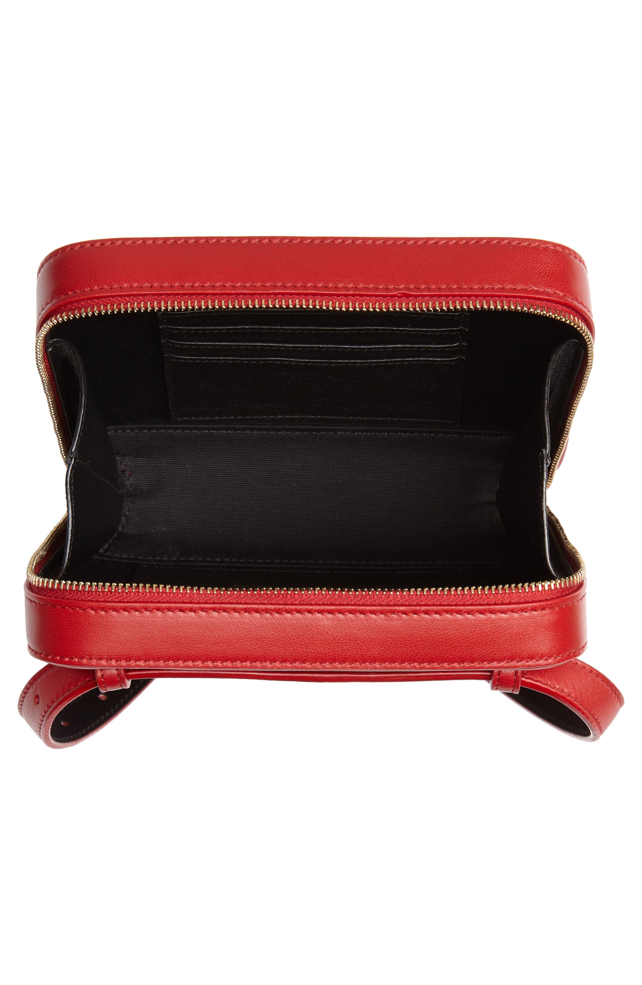 SAINT LAURENT, Vicky Lambskin Leather Belt Bag, Alternate thumbnail 5, color, ROUGE EROS