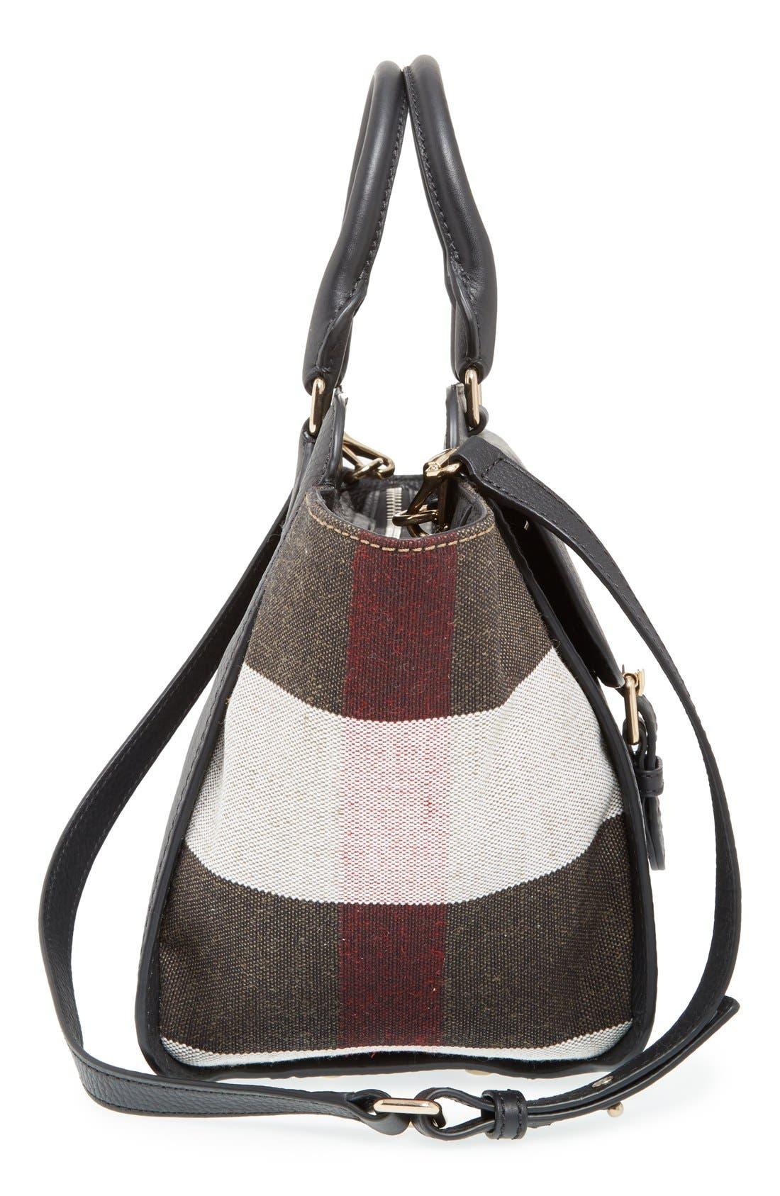 BURBERRY, 'Medium Harcourt' Check & Pebbled Leather Satchel, Alternate thumbnail 2, color, 001