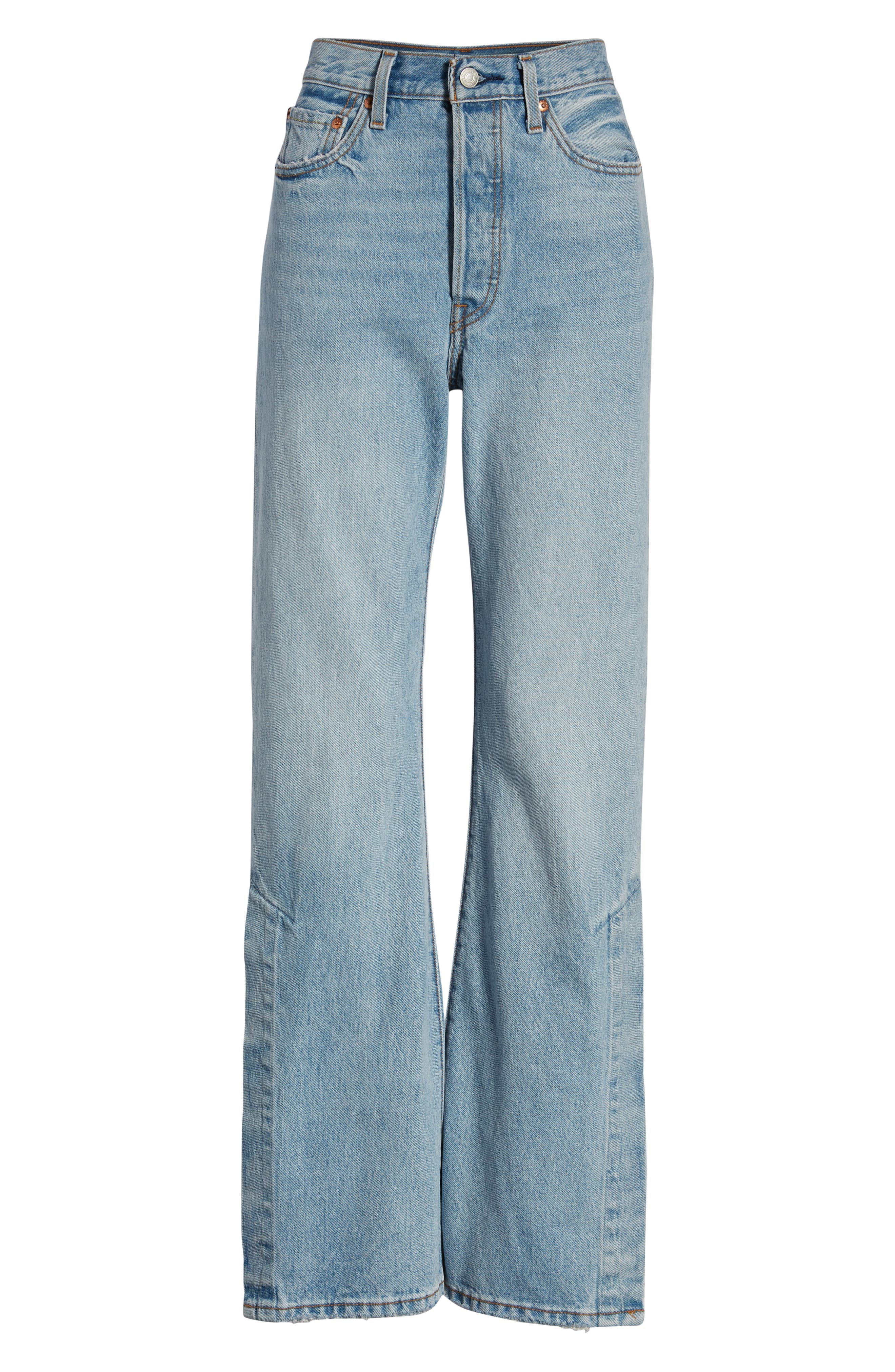 LEVI'S<SUP>®</SUP>, Ribcage Super High Waist Split Flare Jeans, Alternate thumbnail 7, color, DAZED AND CONFUSED
