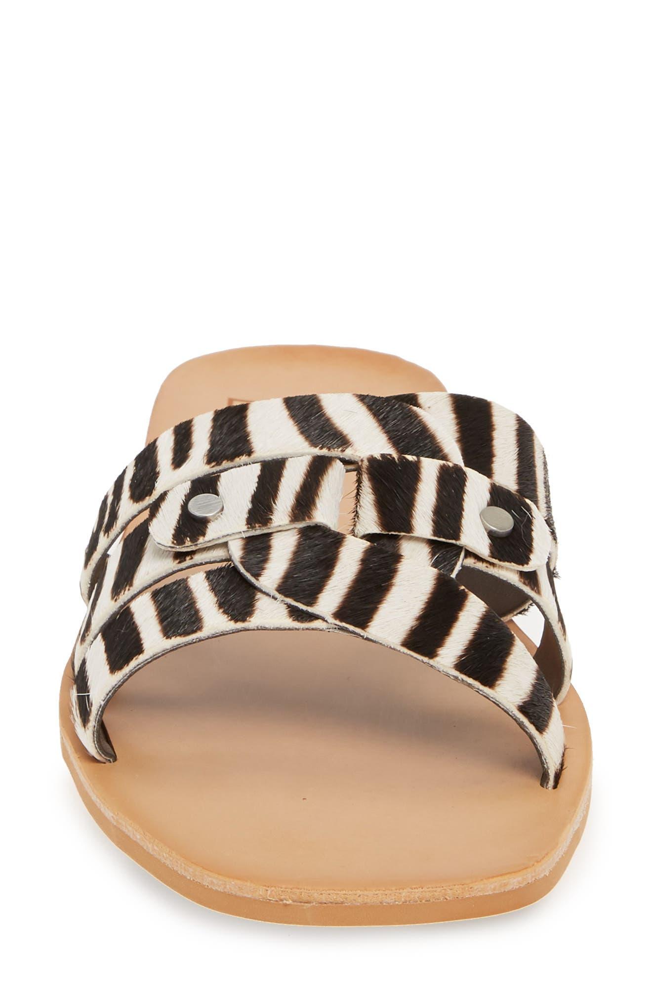 DOLCE VITA, Cait Genuine Calf Hair Slide Sandal, Alternate thumbnail 4, color, ZEBRA PRINT