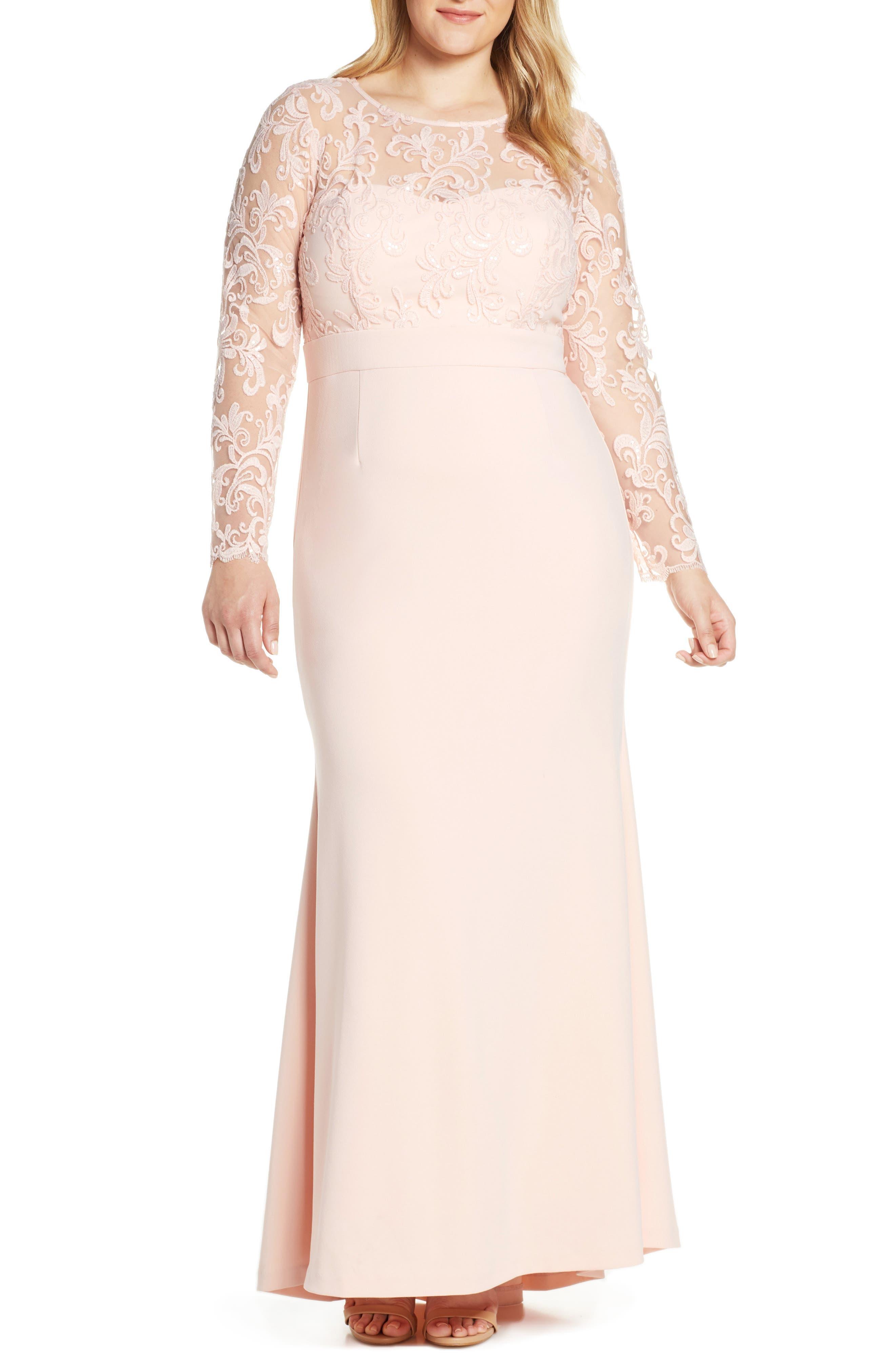 ELIZA J, Embroidered Bodice Crepe Evening Dress, Alternate thumbnail 2, color, BLUSH