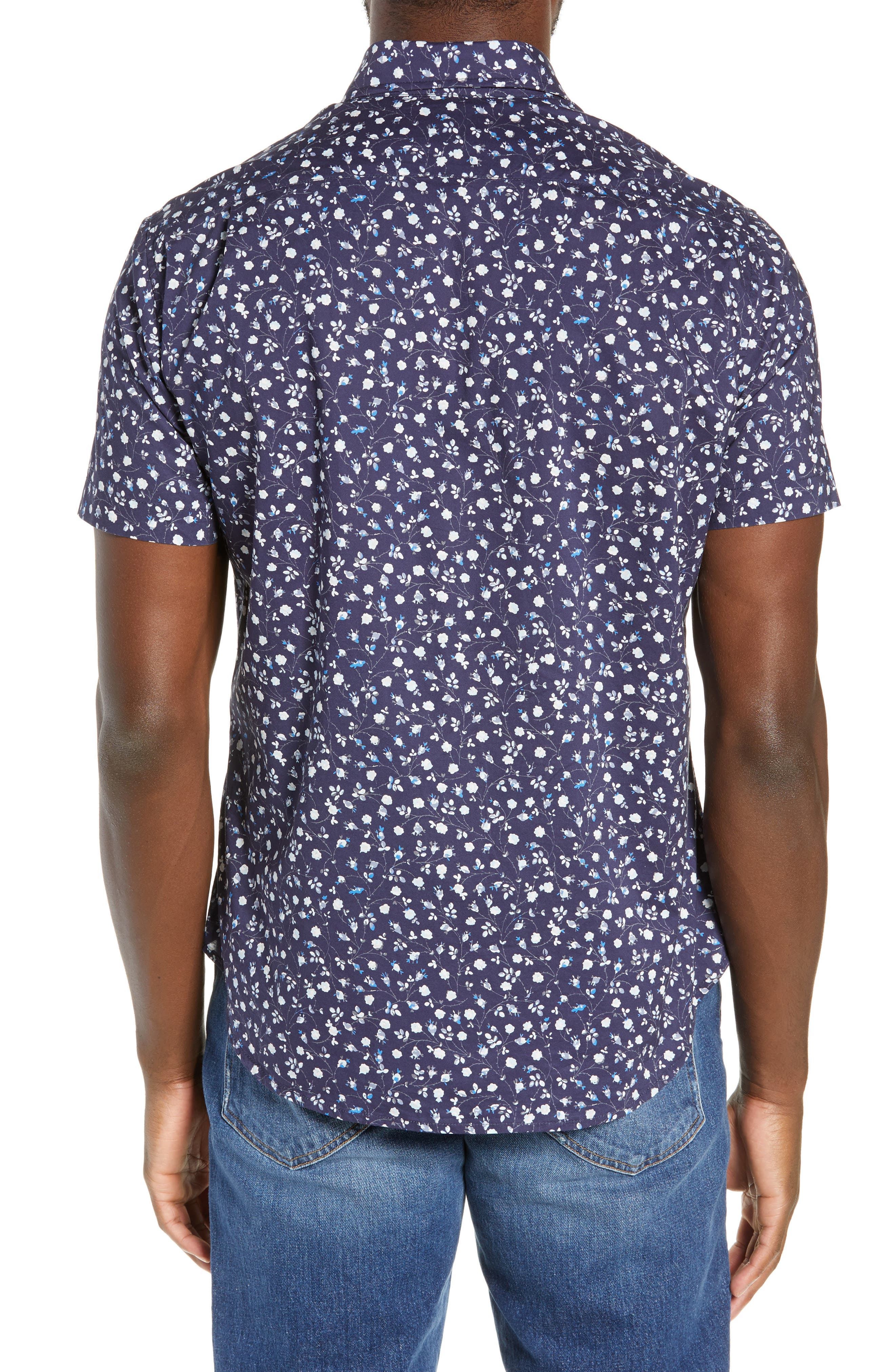 BONOBOS, Riviera Slim Fit Floral Print Sport Shirt, Alternate thumbnail 3, color, BLUE FLORAL