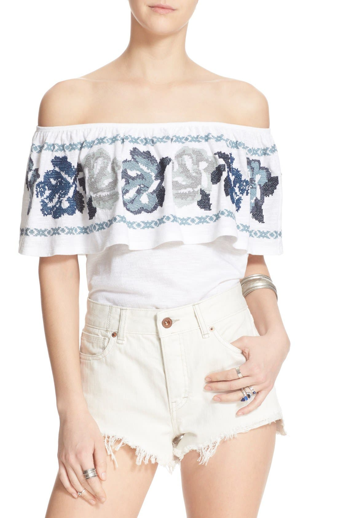 FREE PEOPLE, 'To the Left' Embroidered Off the Shoulder Top, Alternate thumbnail 4, color, 103