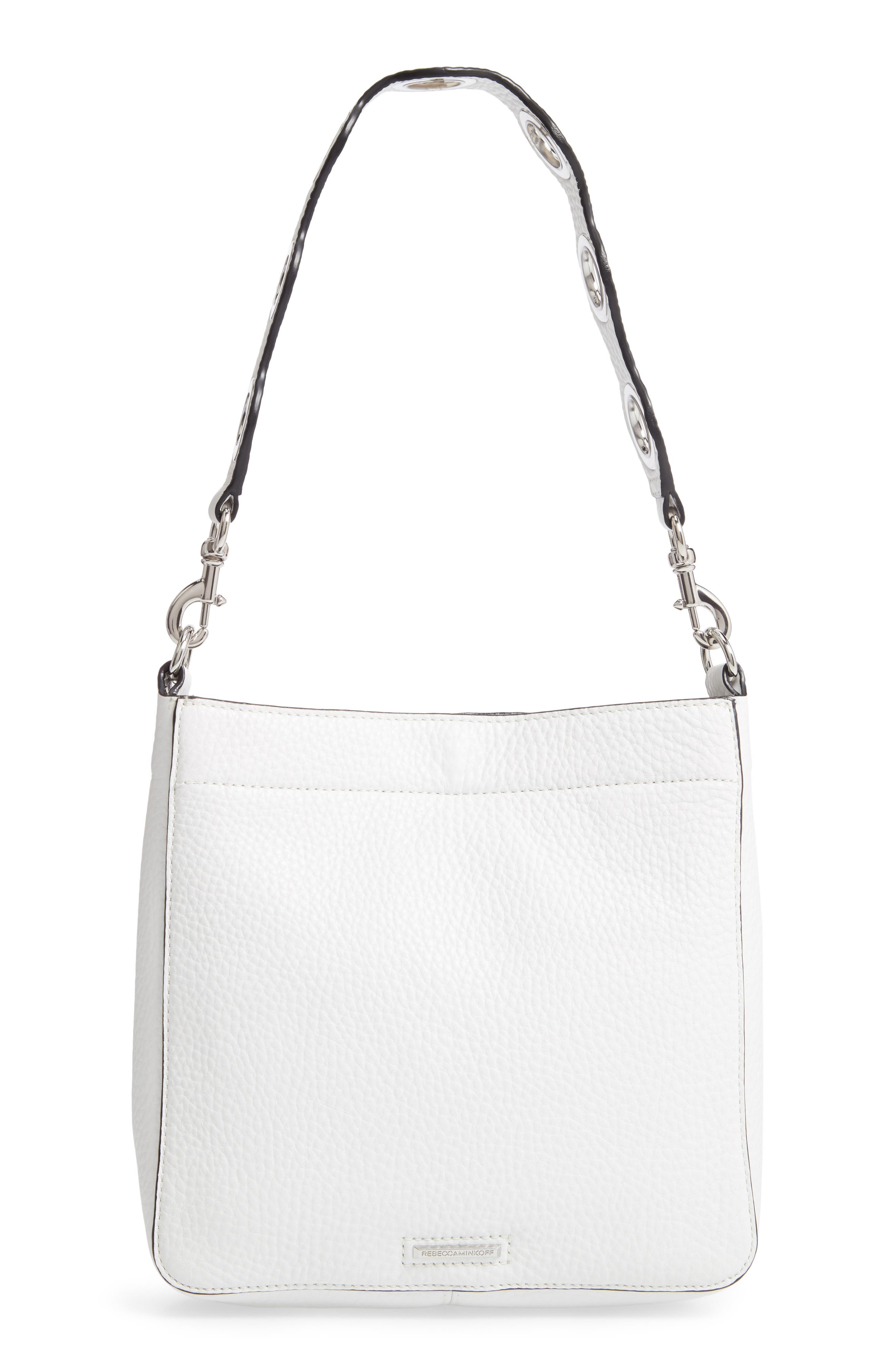 REBECCA MINKOFF, Small Studded Leather Feed Bag, Alternate thumbnail 5, color, OPTIC WHITE